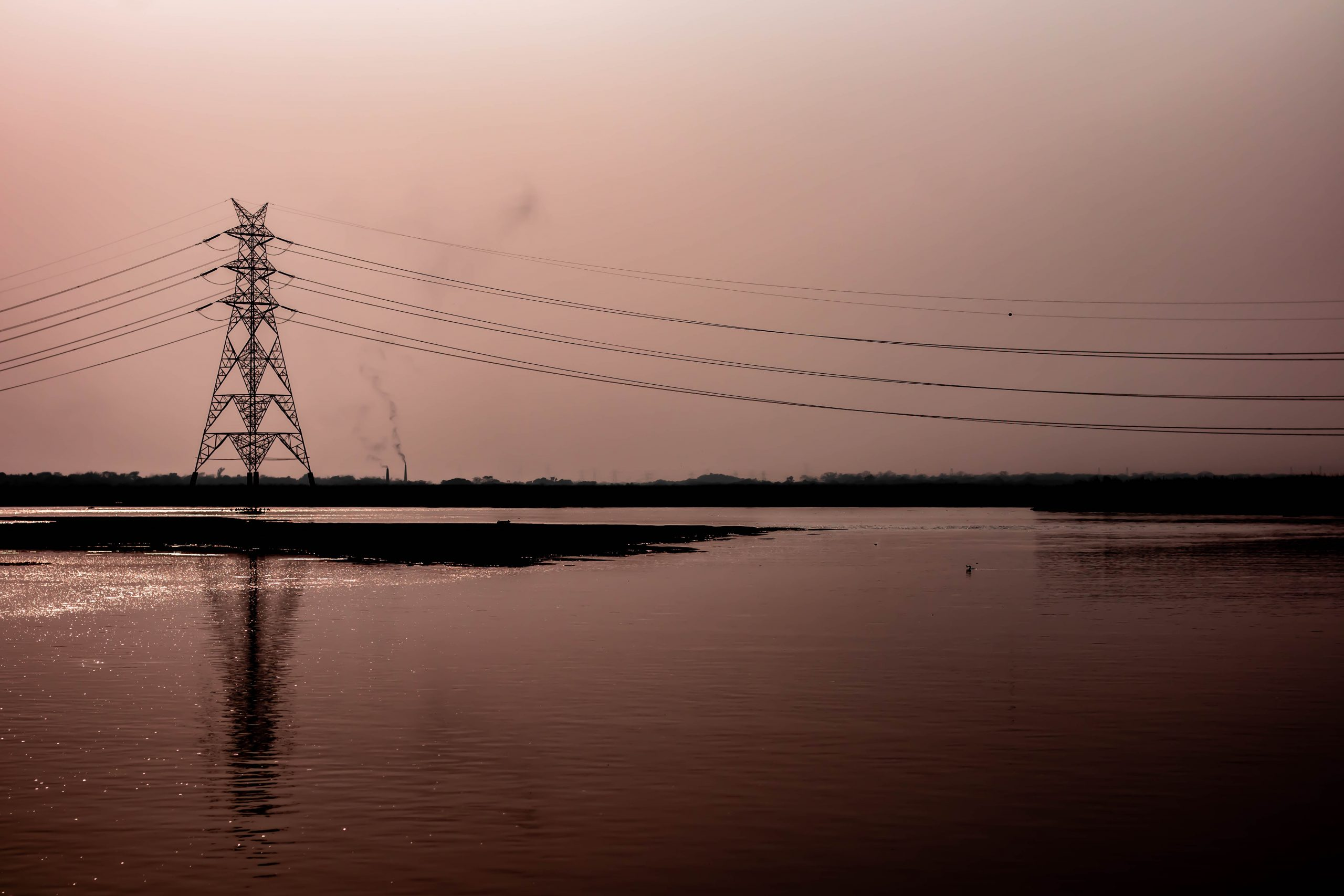 Transmission tower near Damodar River