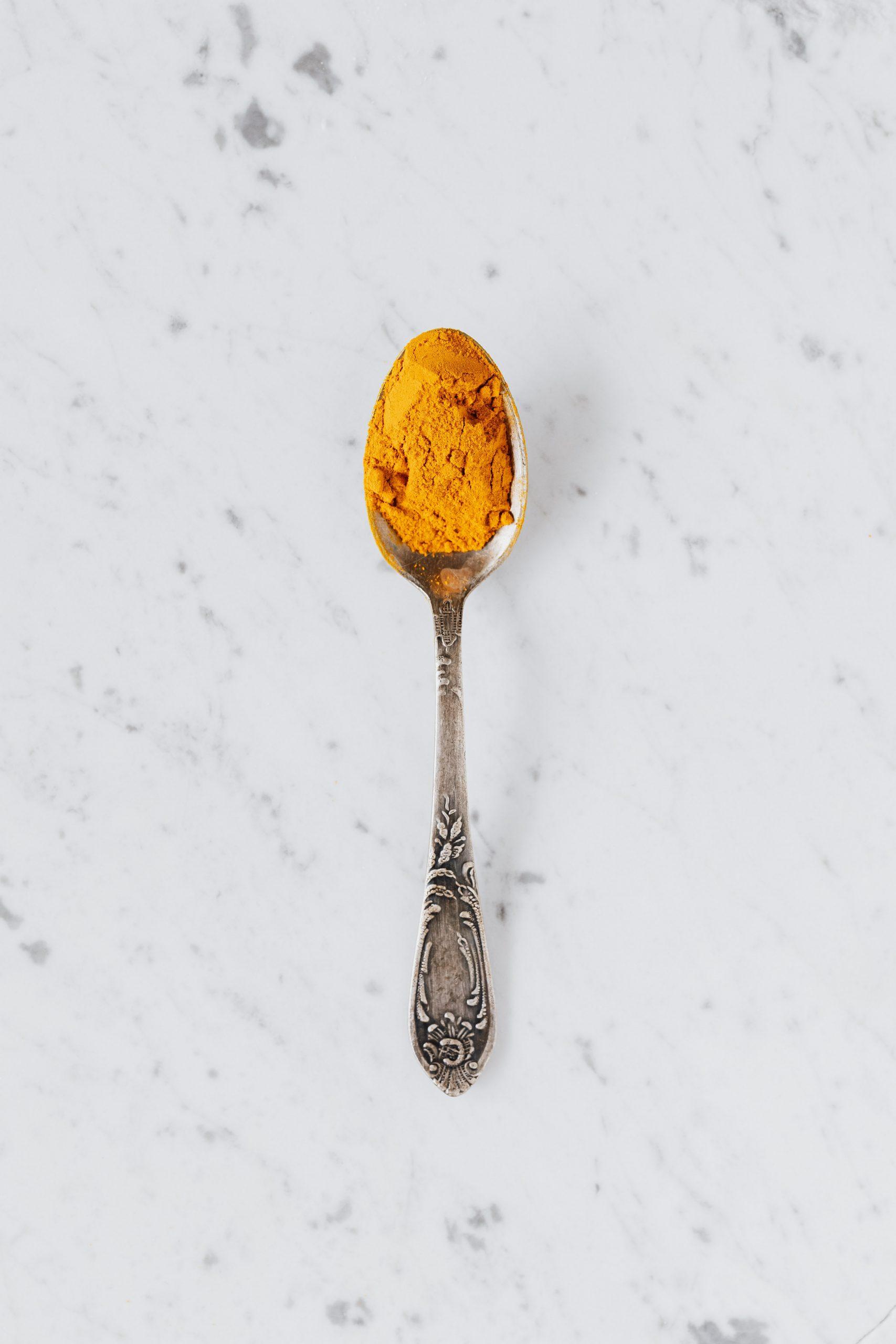 Turmeric in the spoon