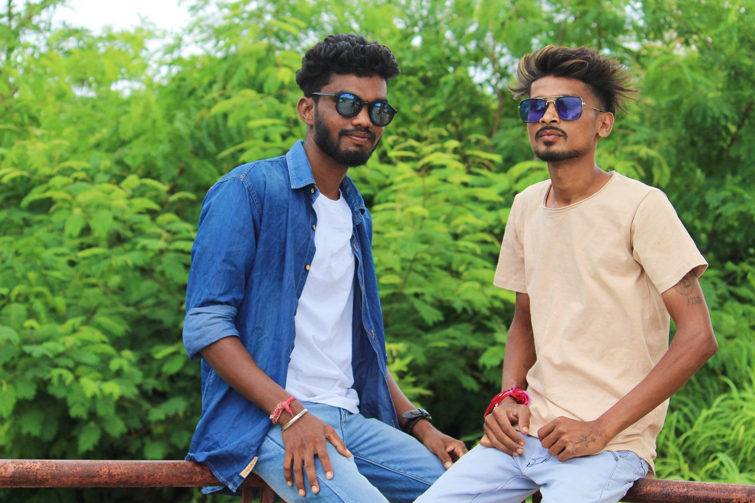 Two model boys posing