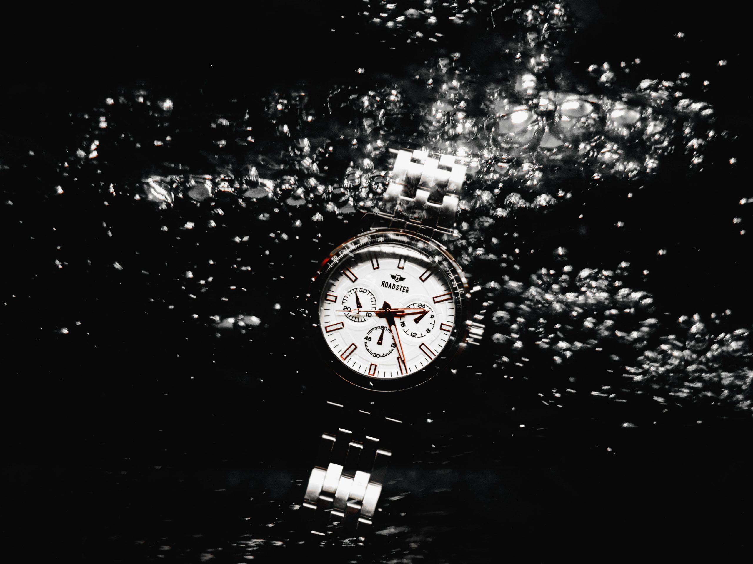 Water splash on a watch