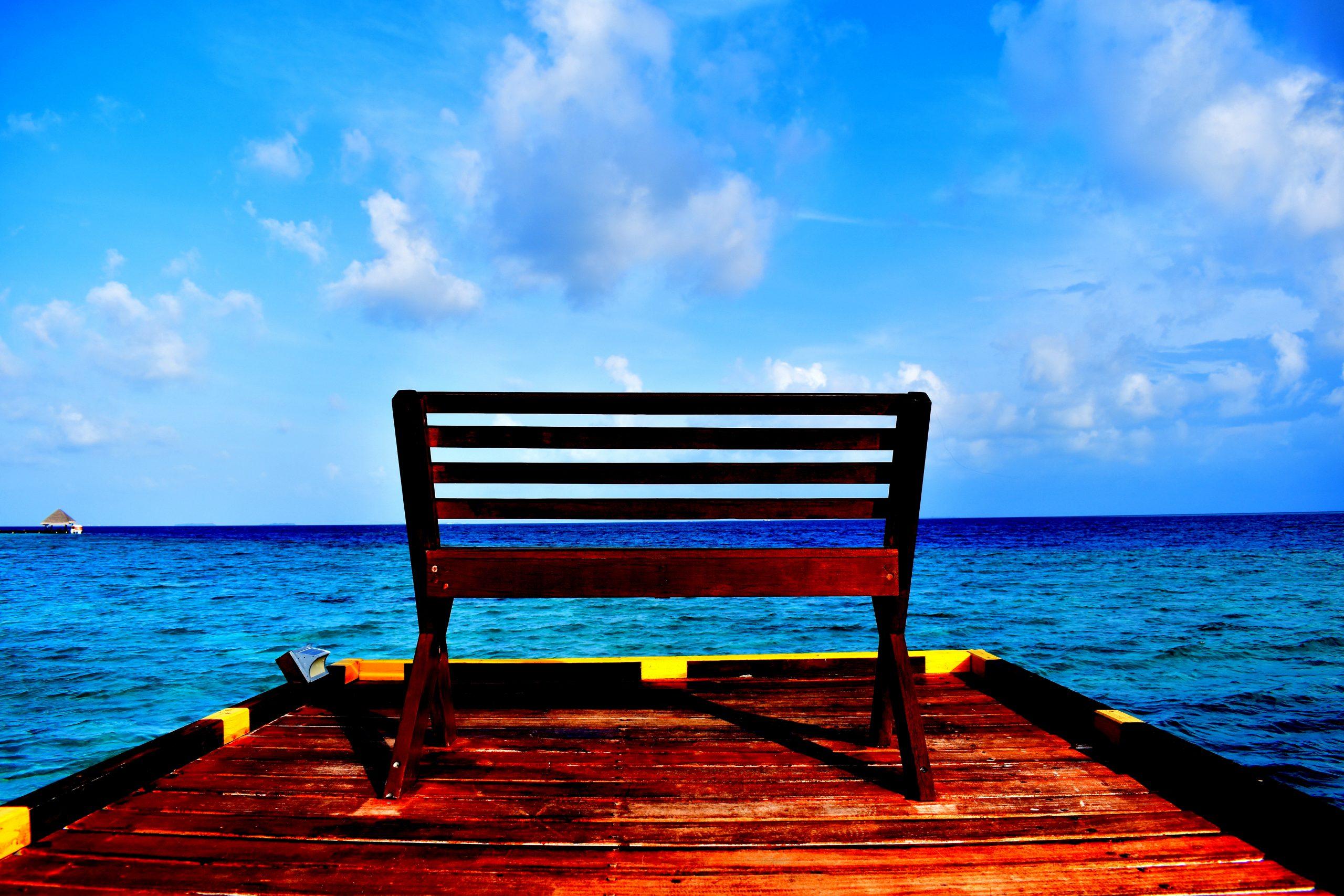 A bench at a Water Villa in Maldives