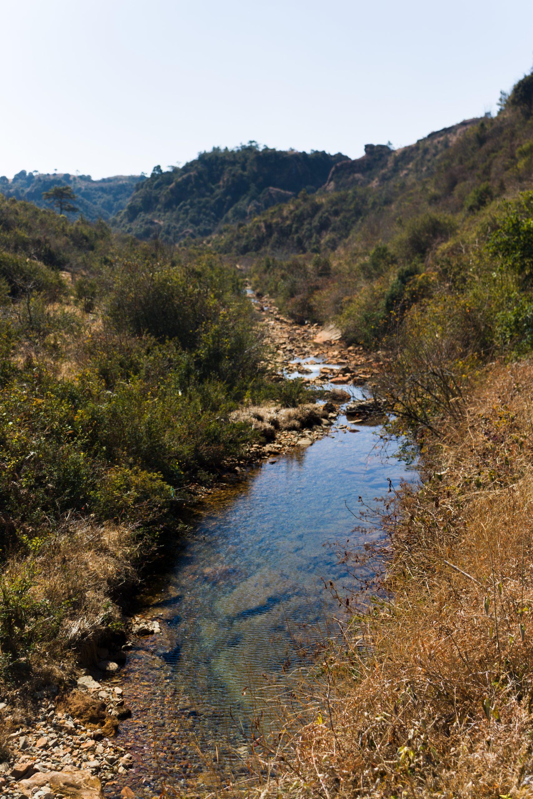 Water accumulated under hills