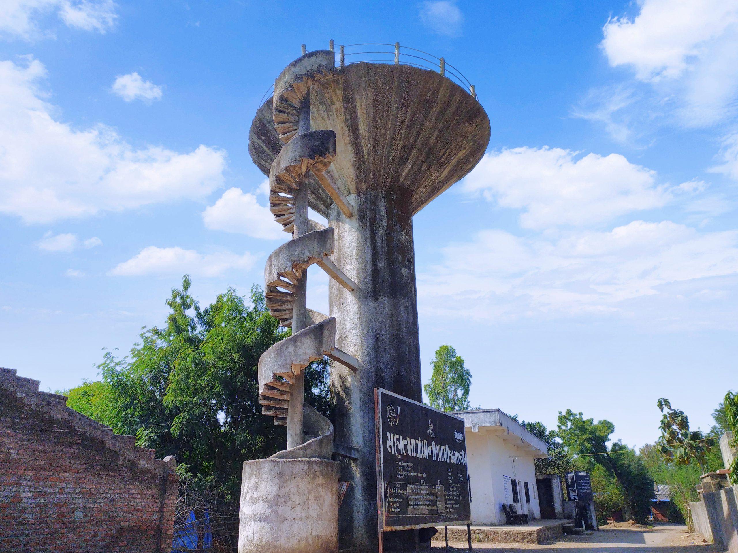 Water tank in a village