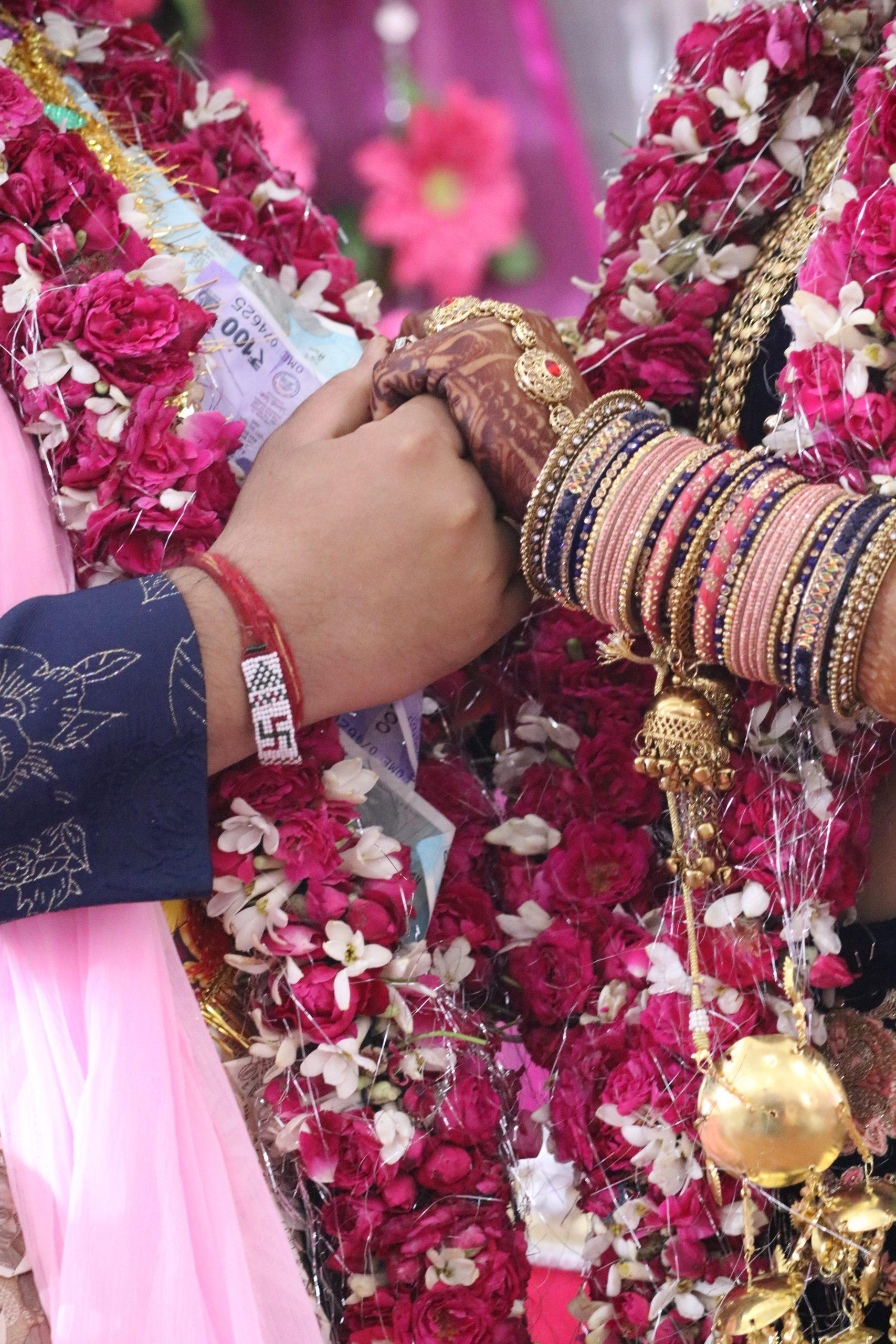 Wedding couple's hands
