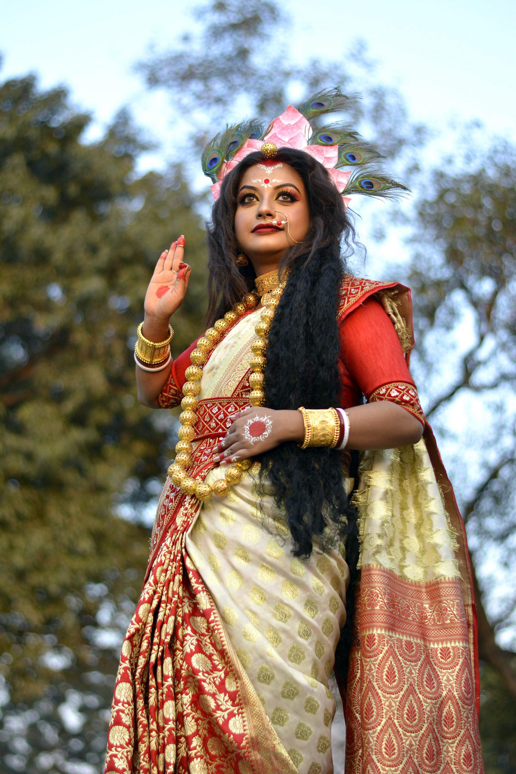 Woman dressed up like Goddess Saraswati