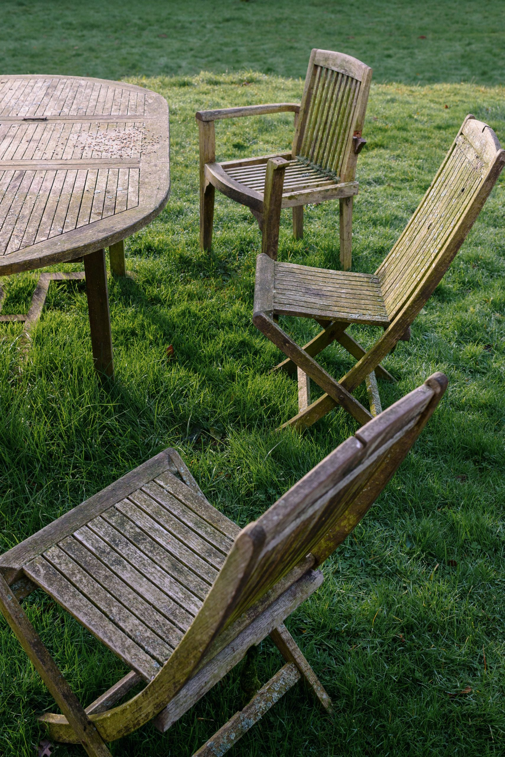 chairs and tables on grassy farm