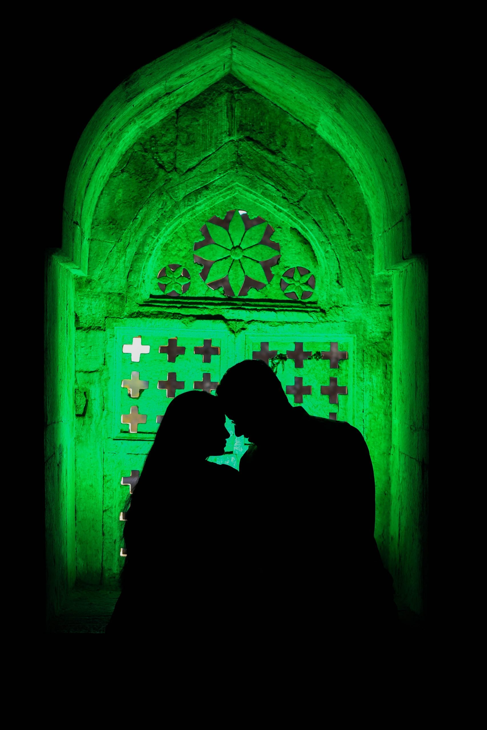 Couple in green light