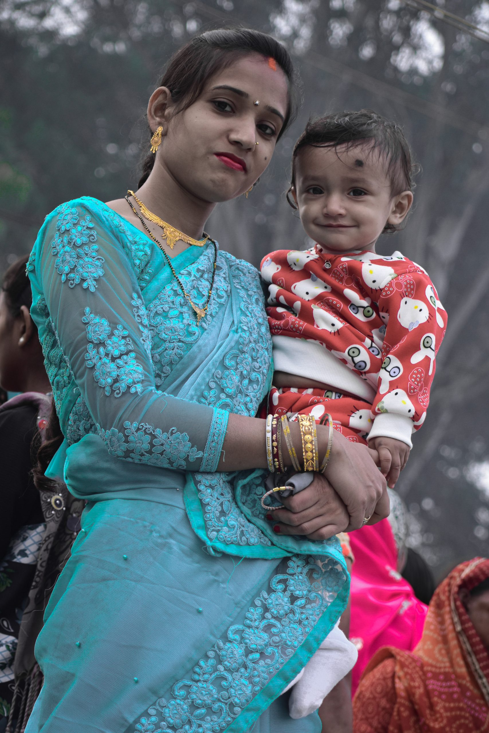 A woman with her baby