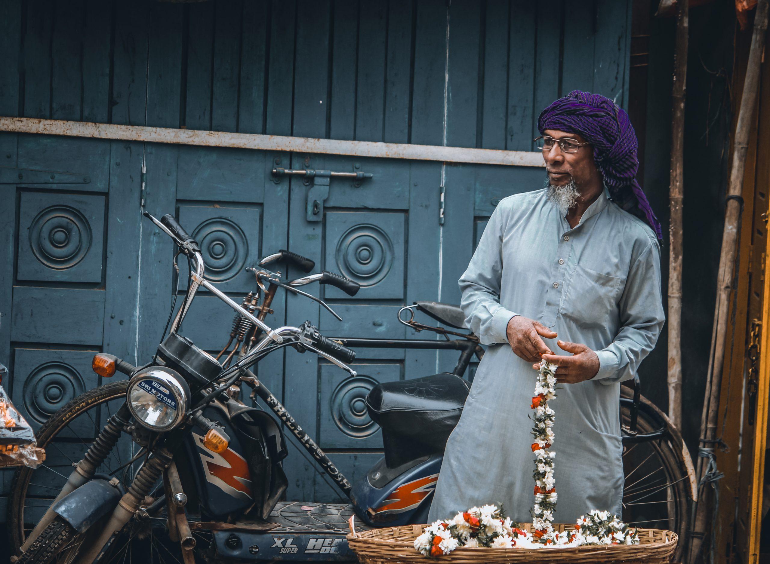 A flower seller in a street