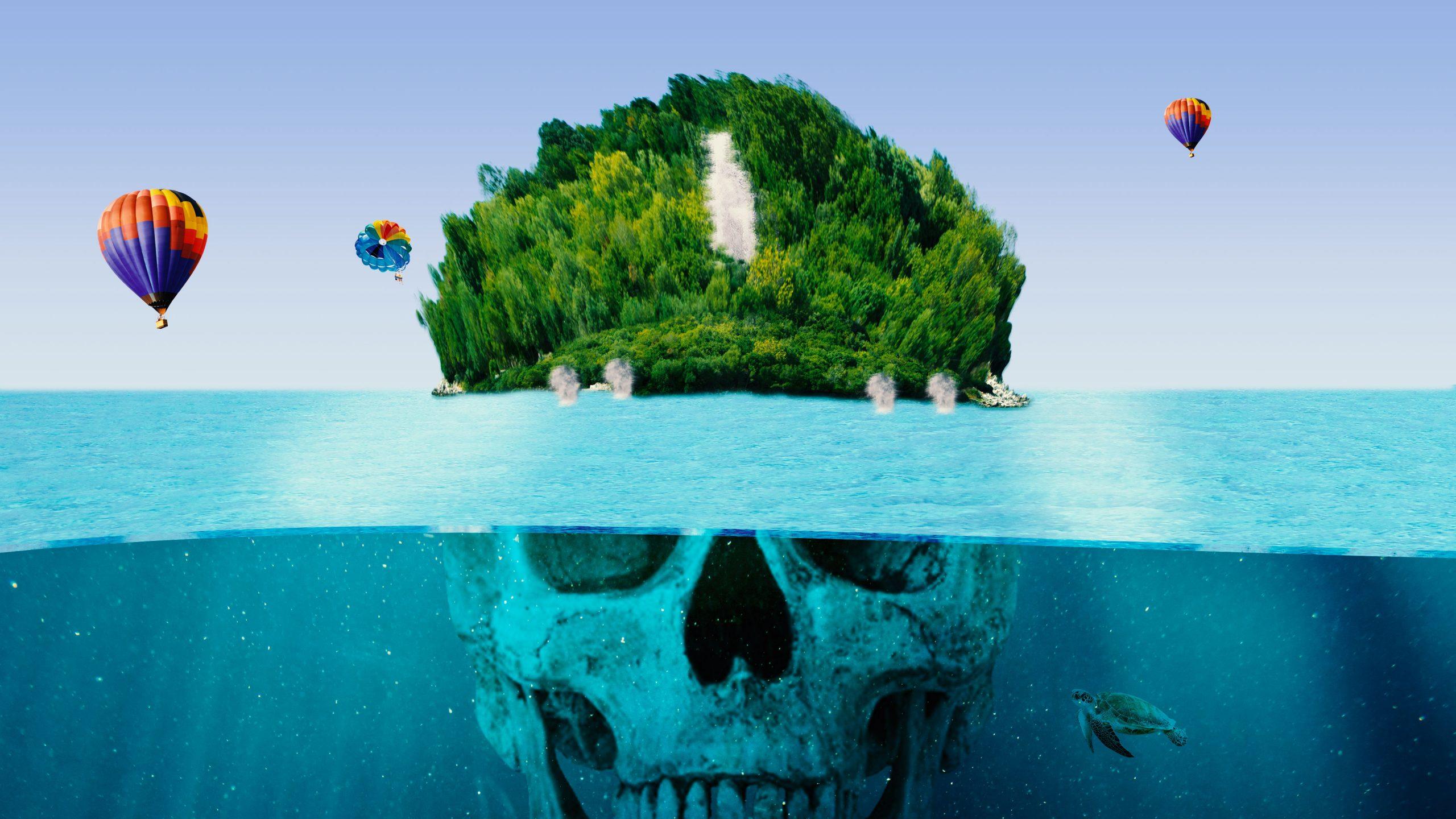 Skull and sea water illustration