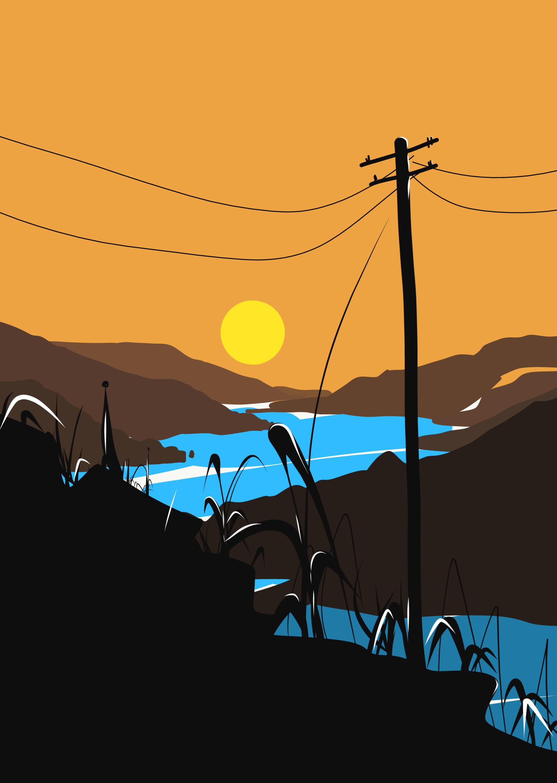 Sunset near a river illustration