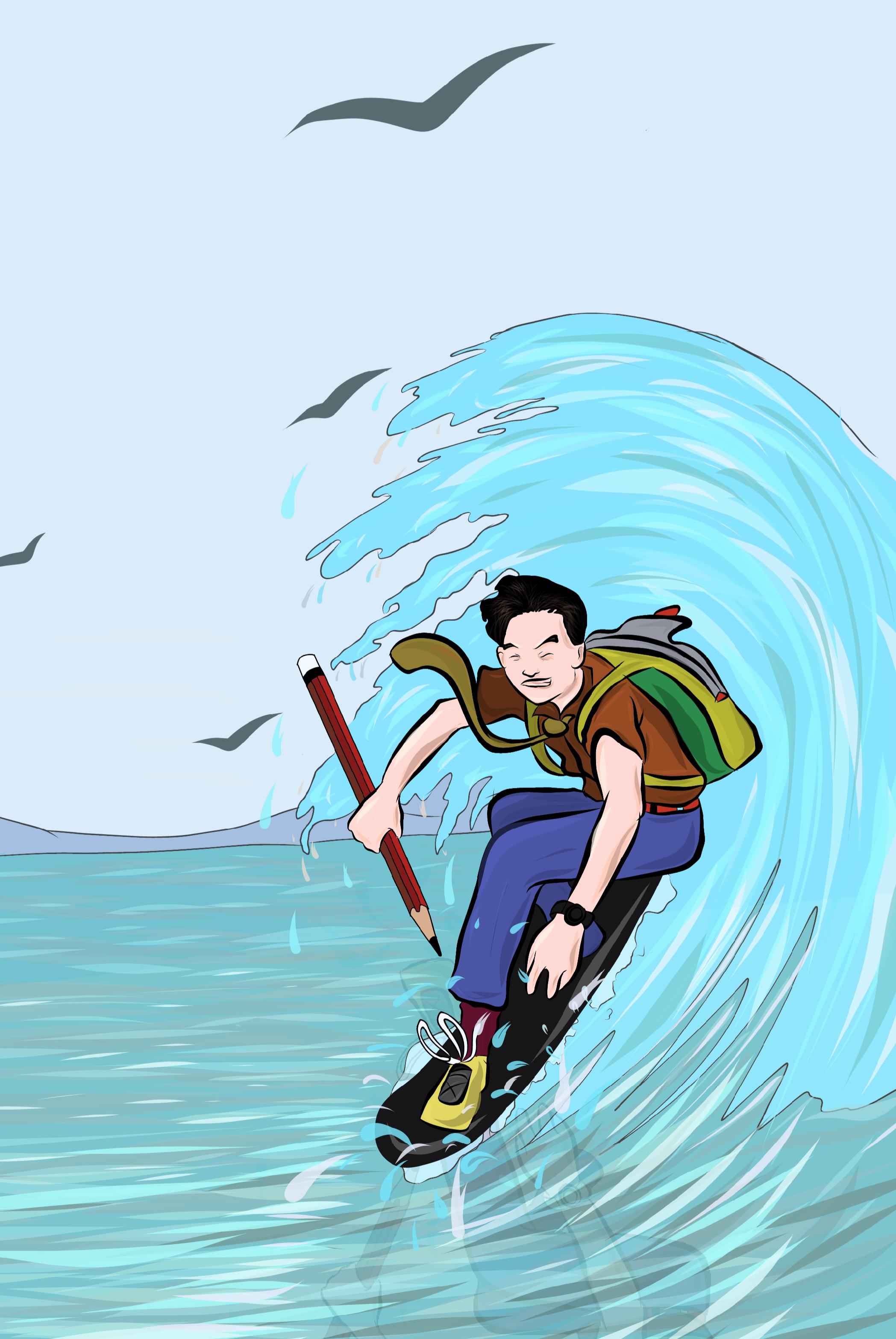 Board Surfing illustration