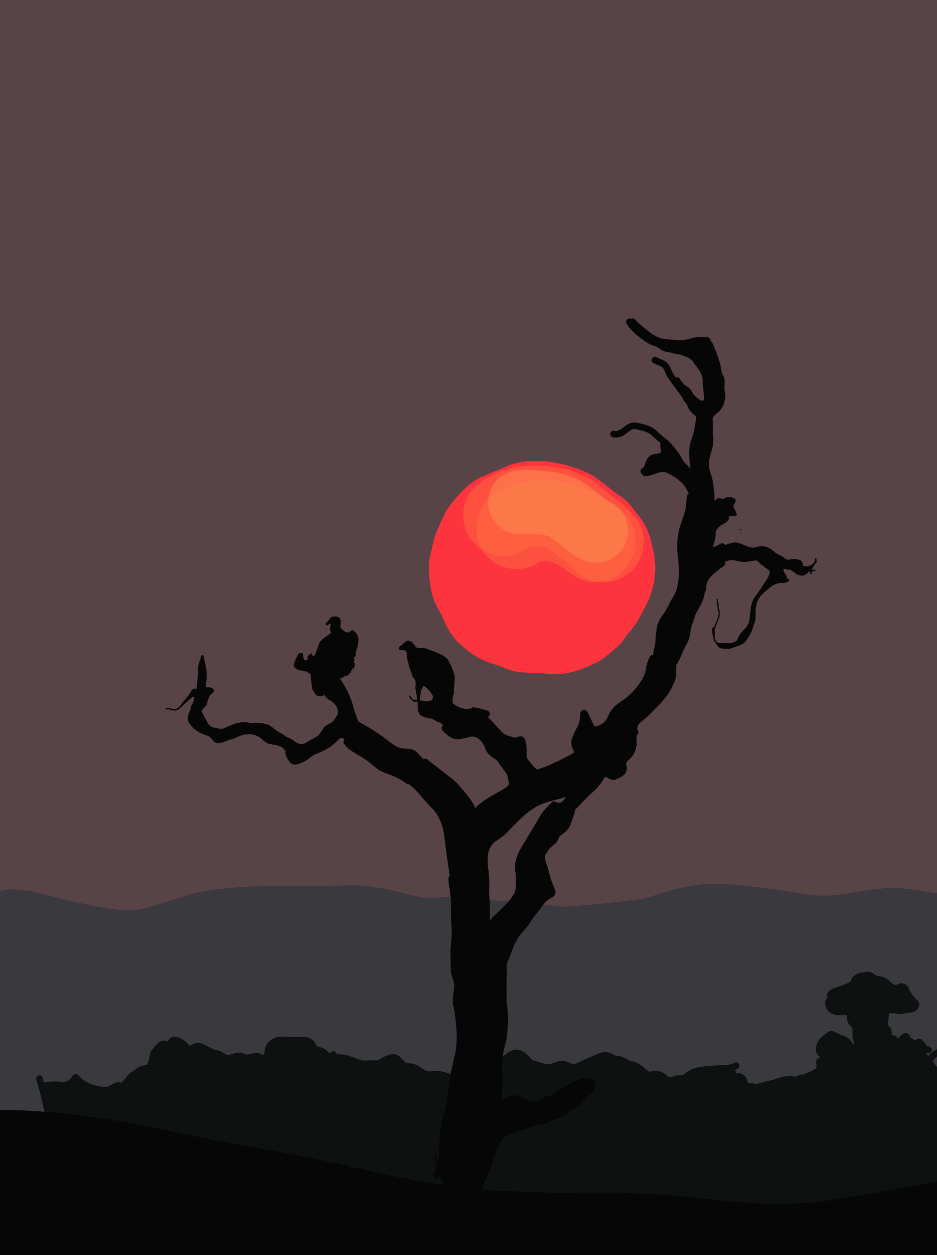 Sunset in a jungle illustration