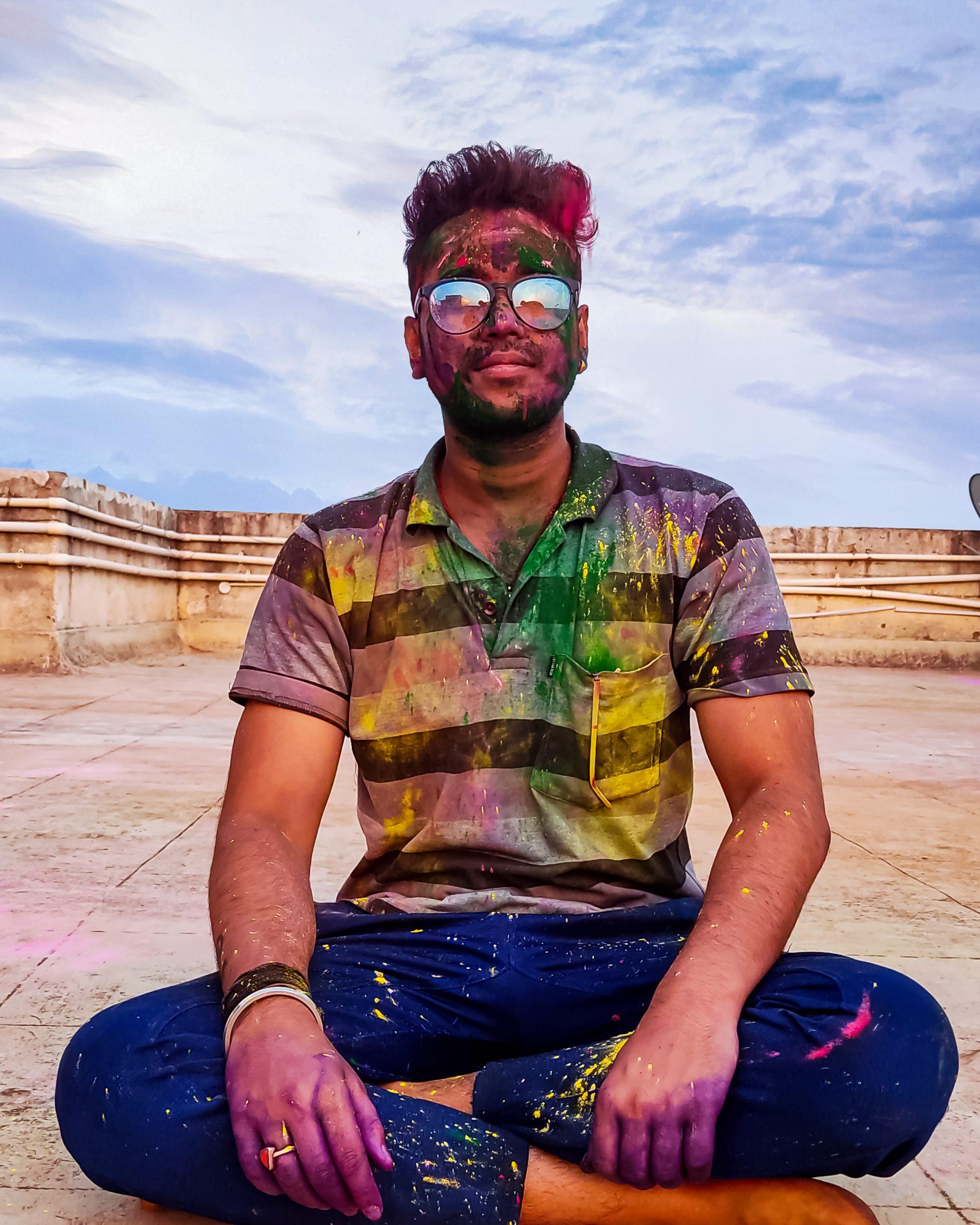 A boy celebrating Holi festival