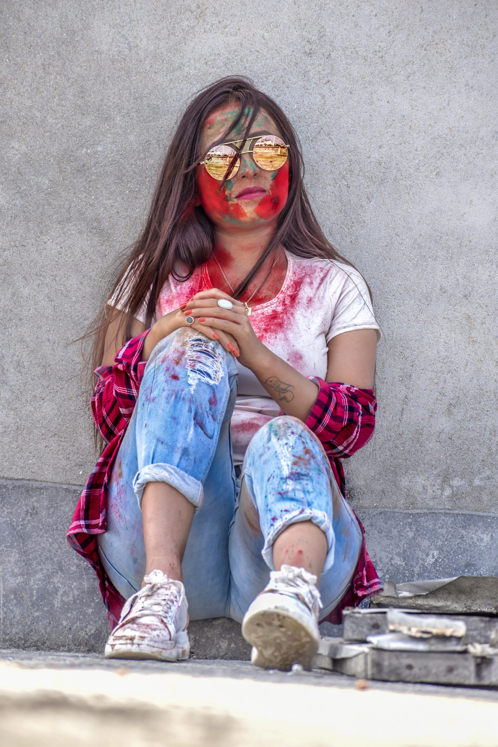 A city girl after playing with Holi colors