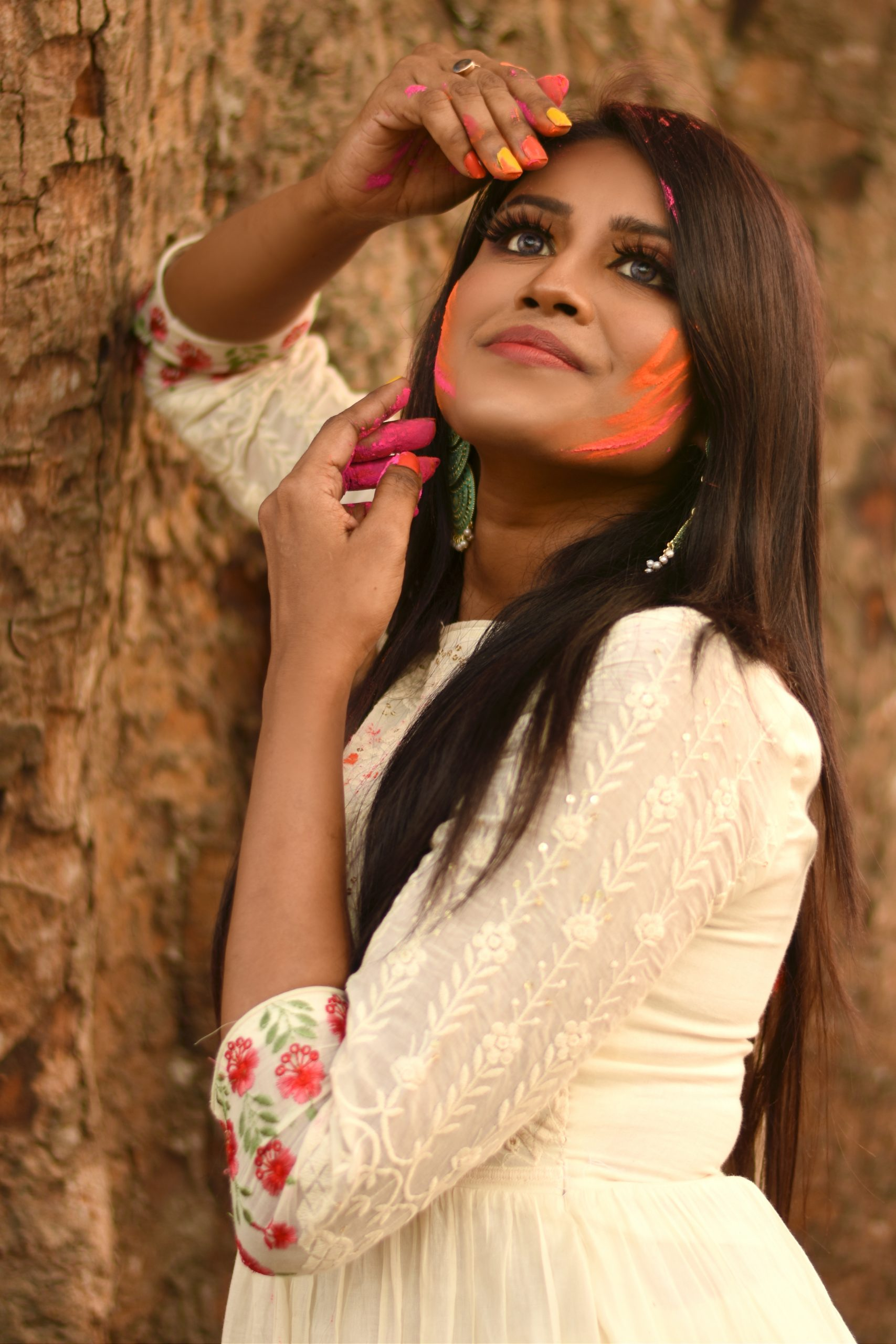 A girl celebrating Holi festival