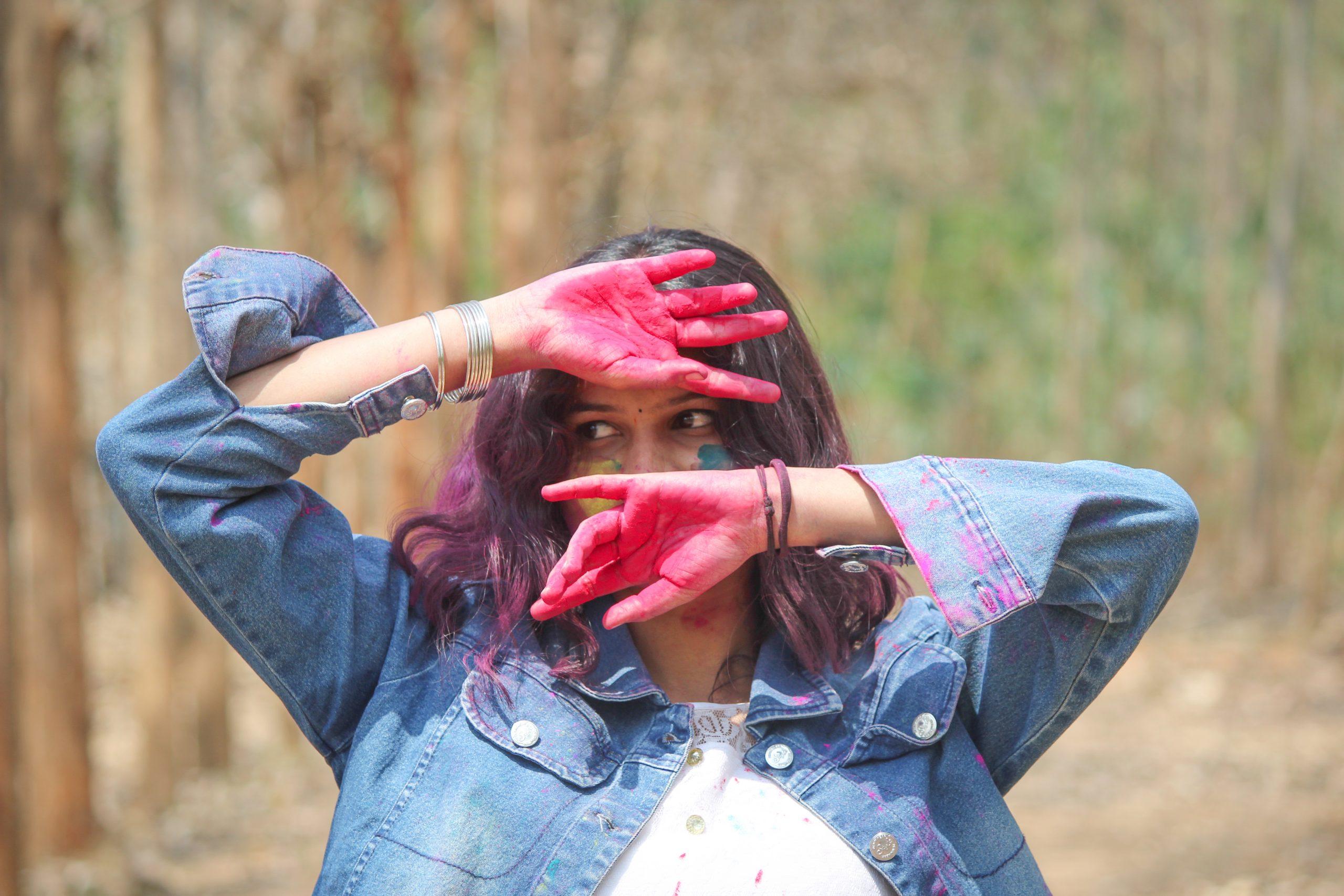 A girl celebrating Holi festival