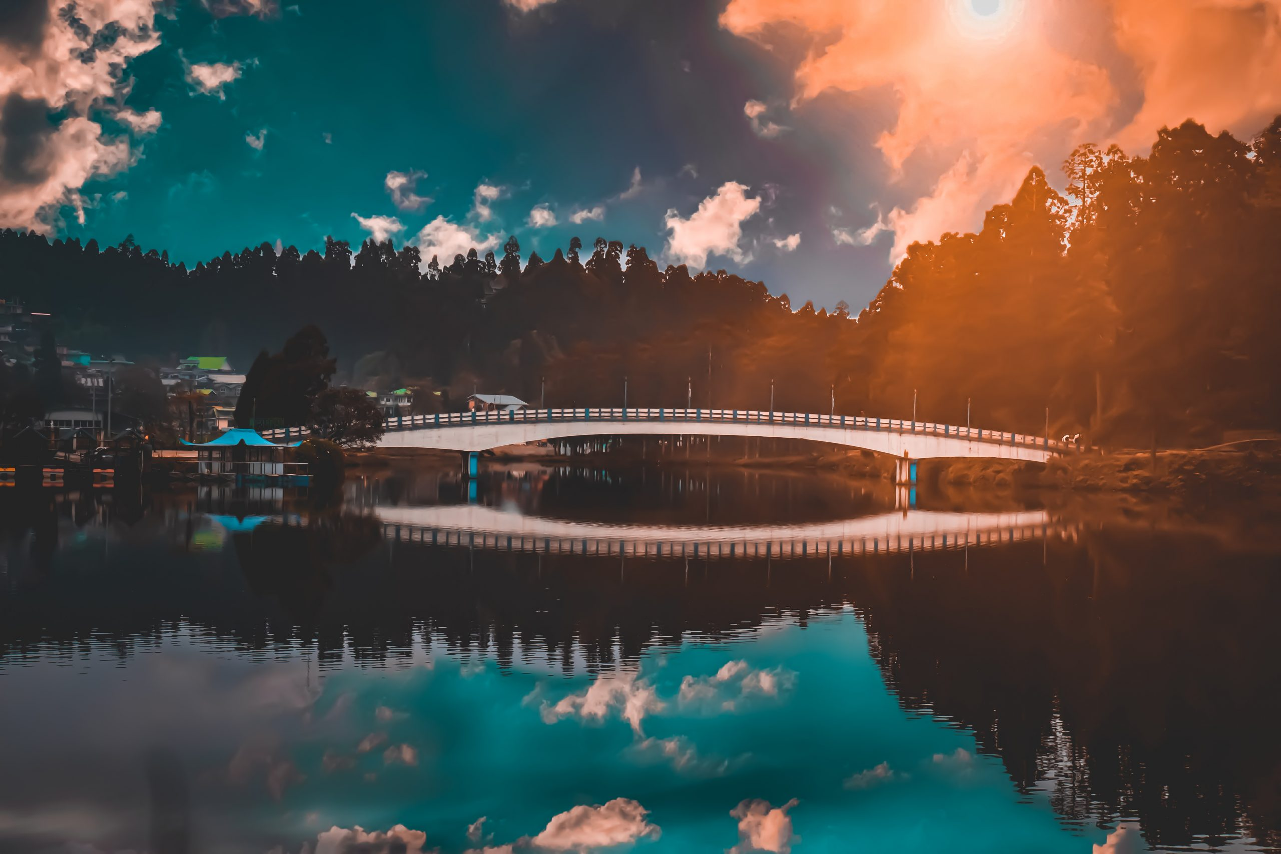 A lake and clouds