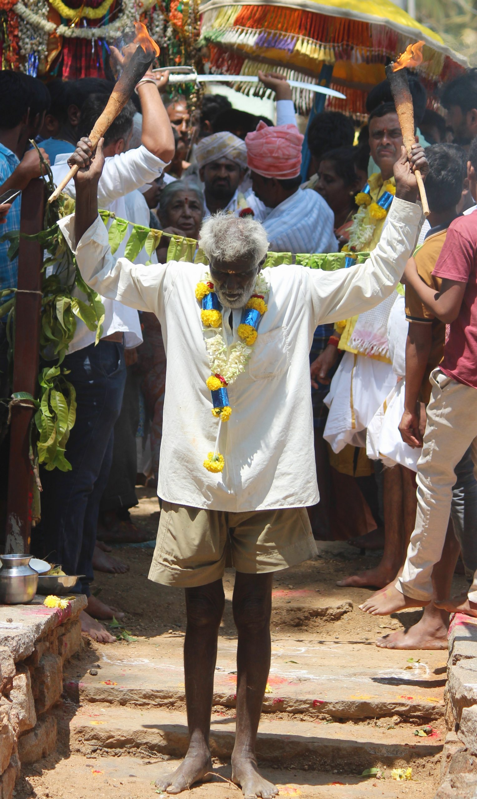 A man performing in in a religious festival