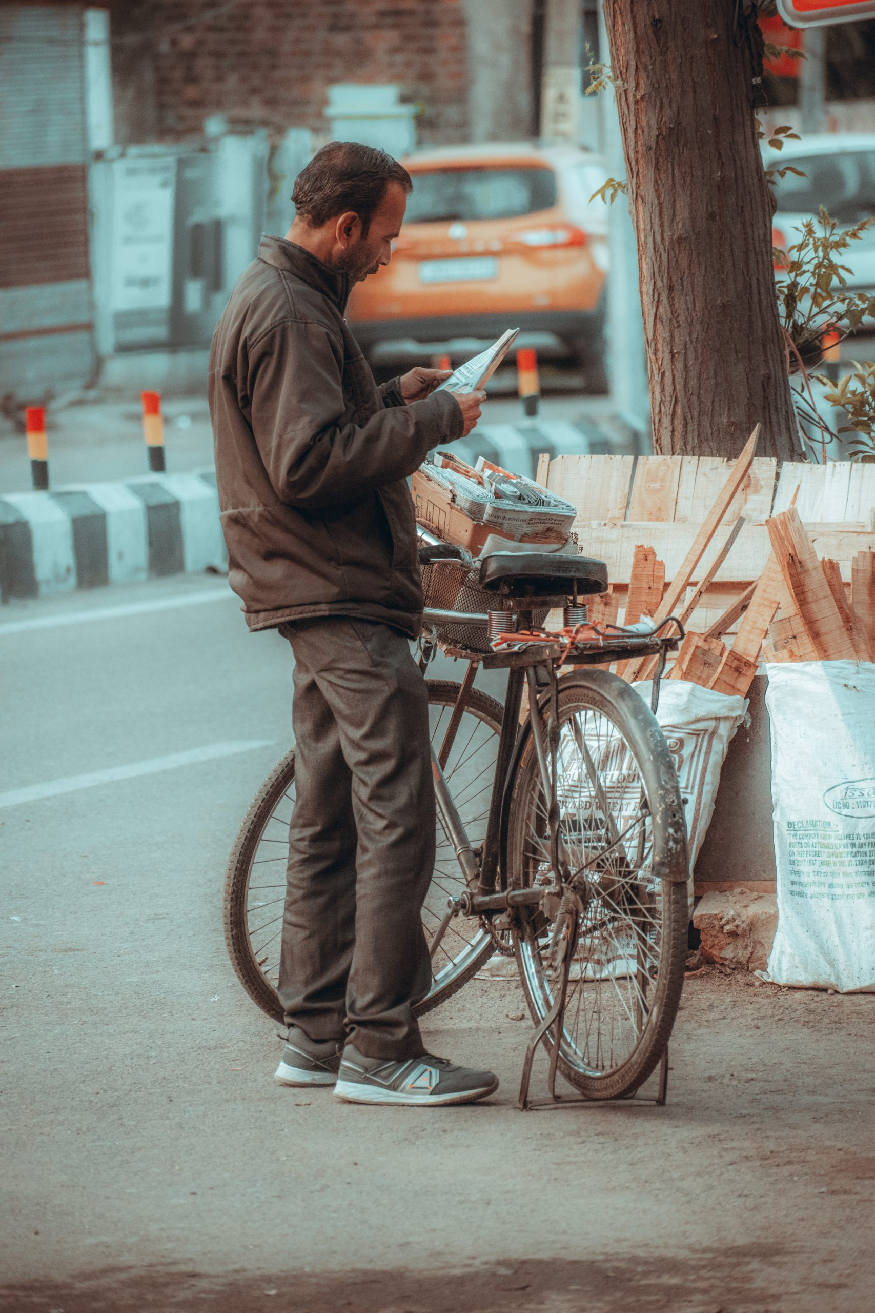 A man with his bicycle