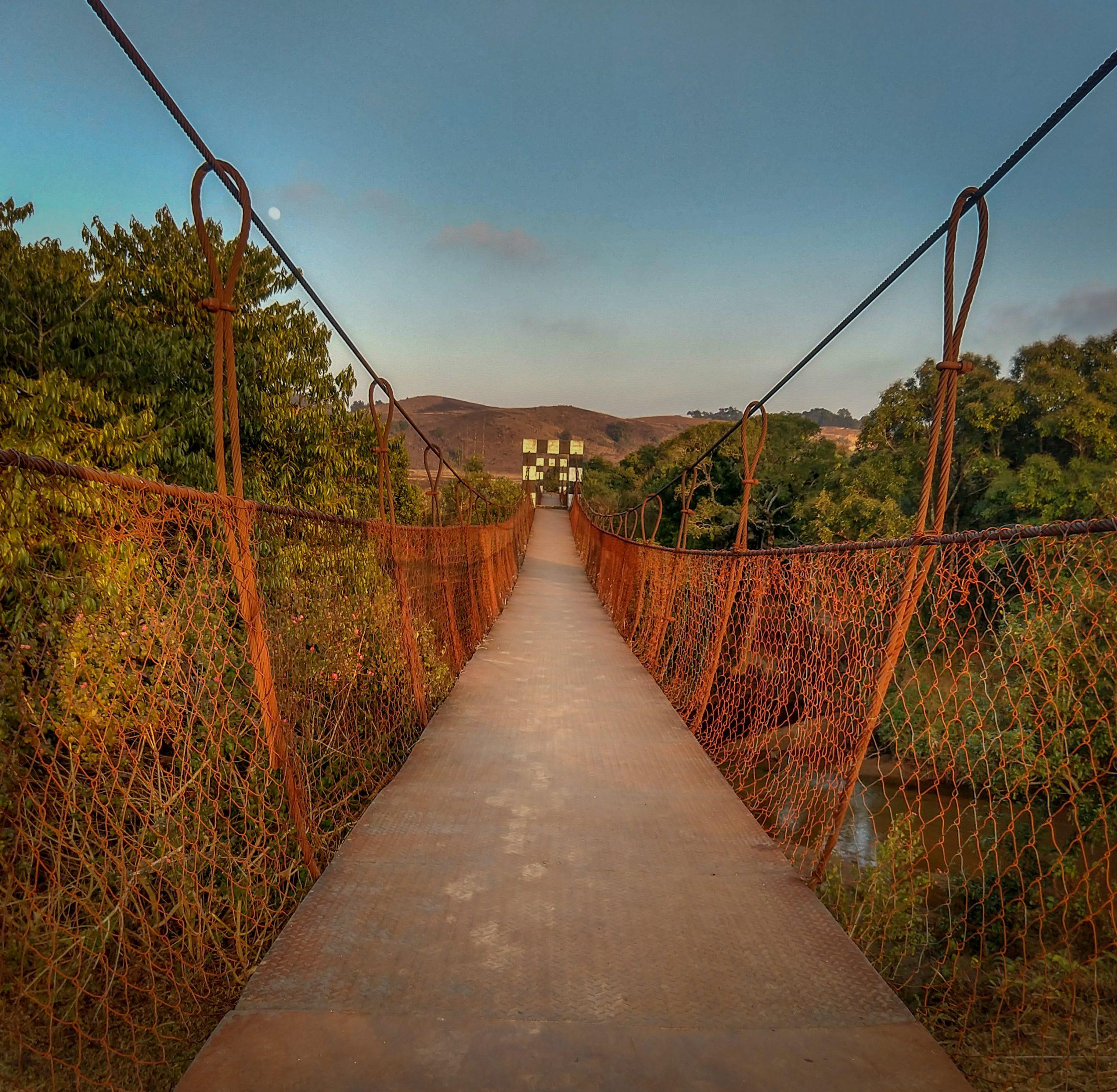 A narrow suspension bridge