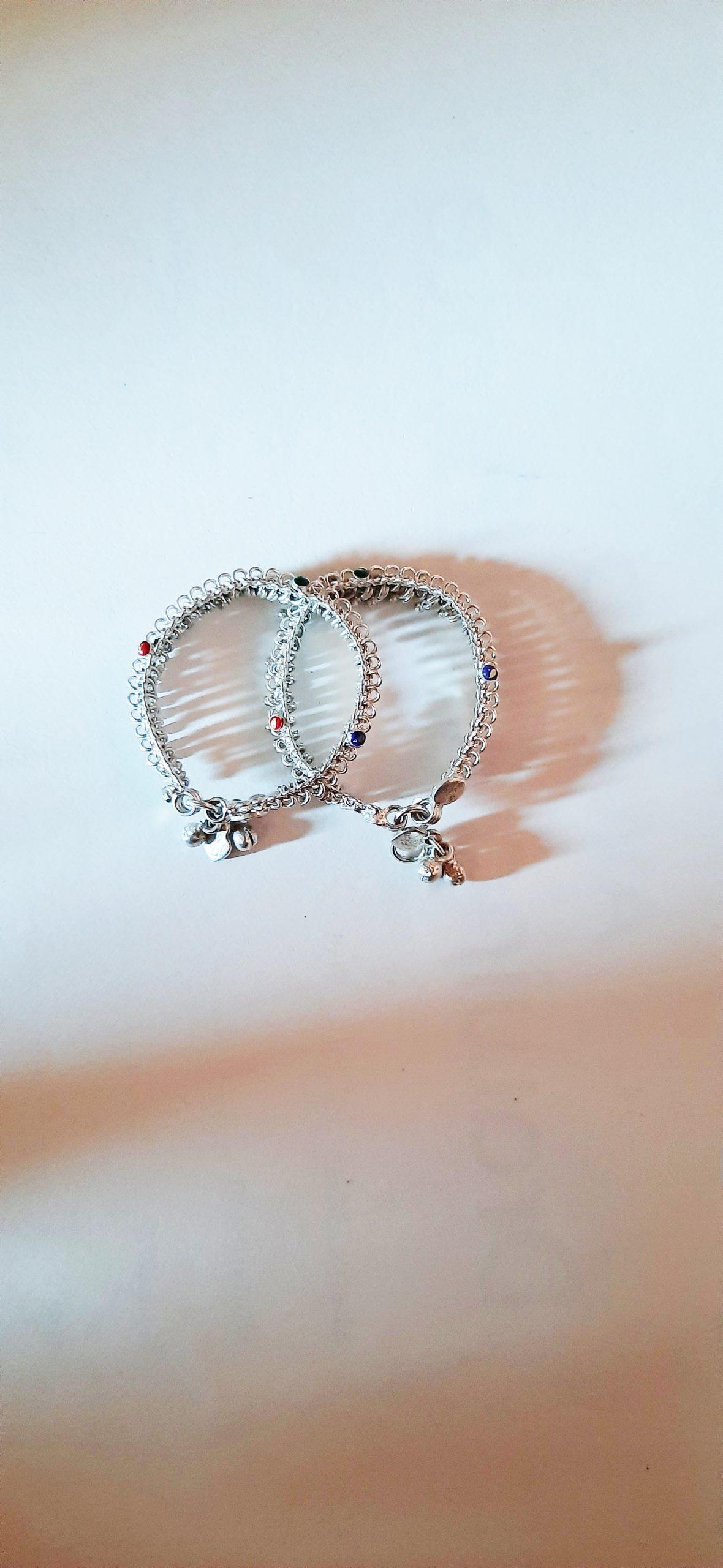 A pair of silver earrings