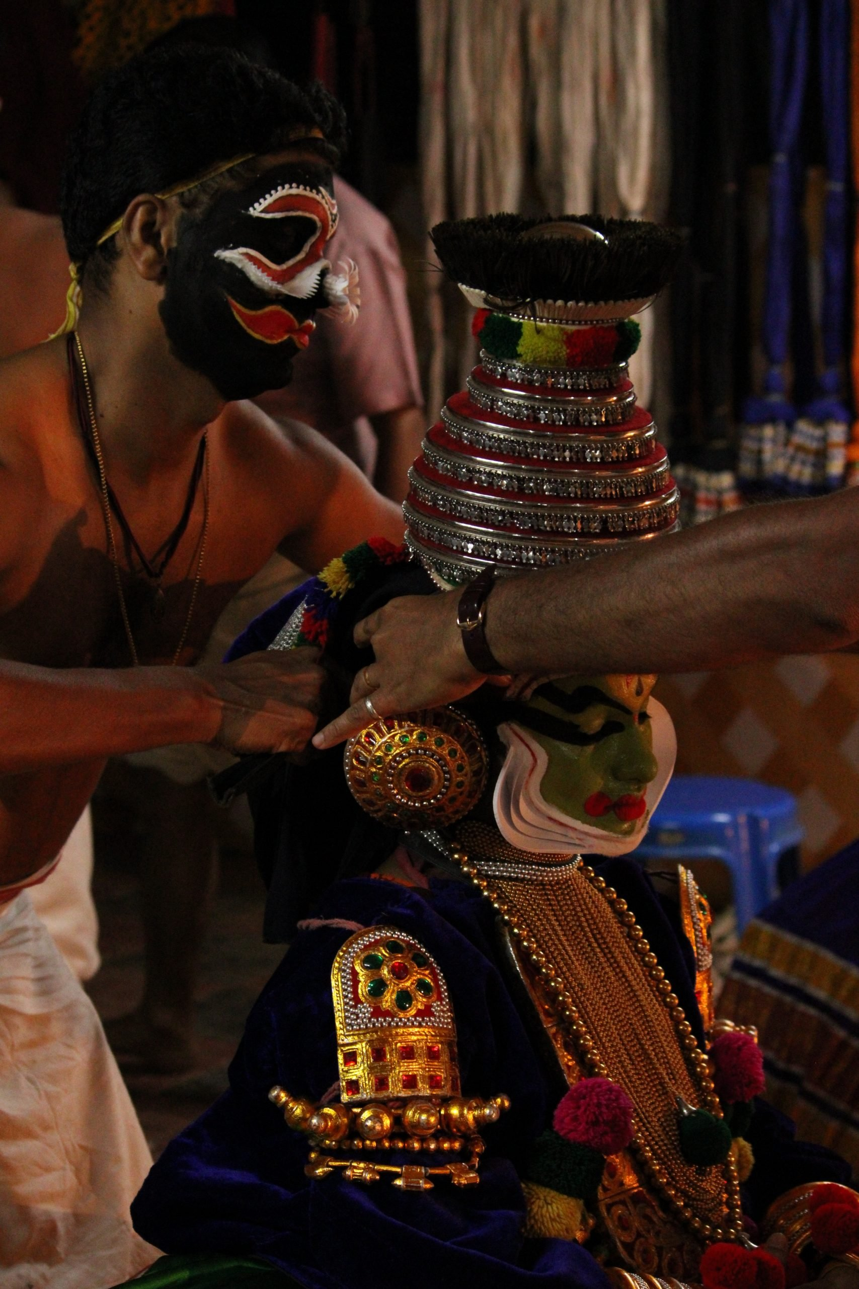 Portrait of a kathakali artist getting ready