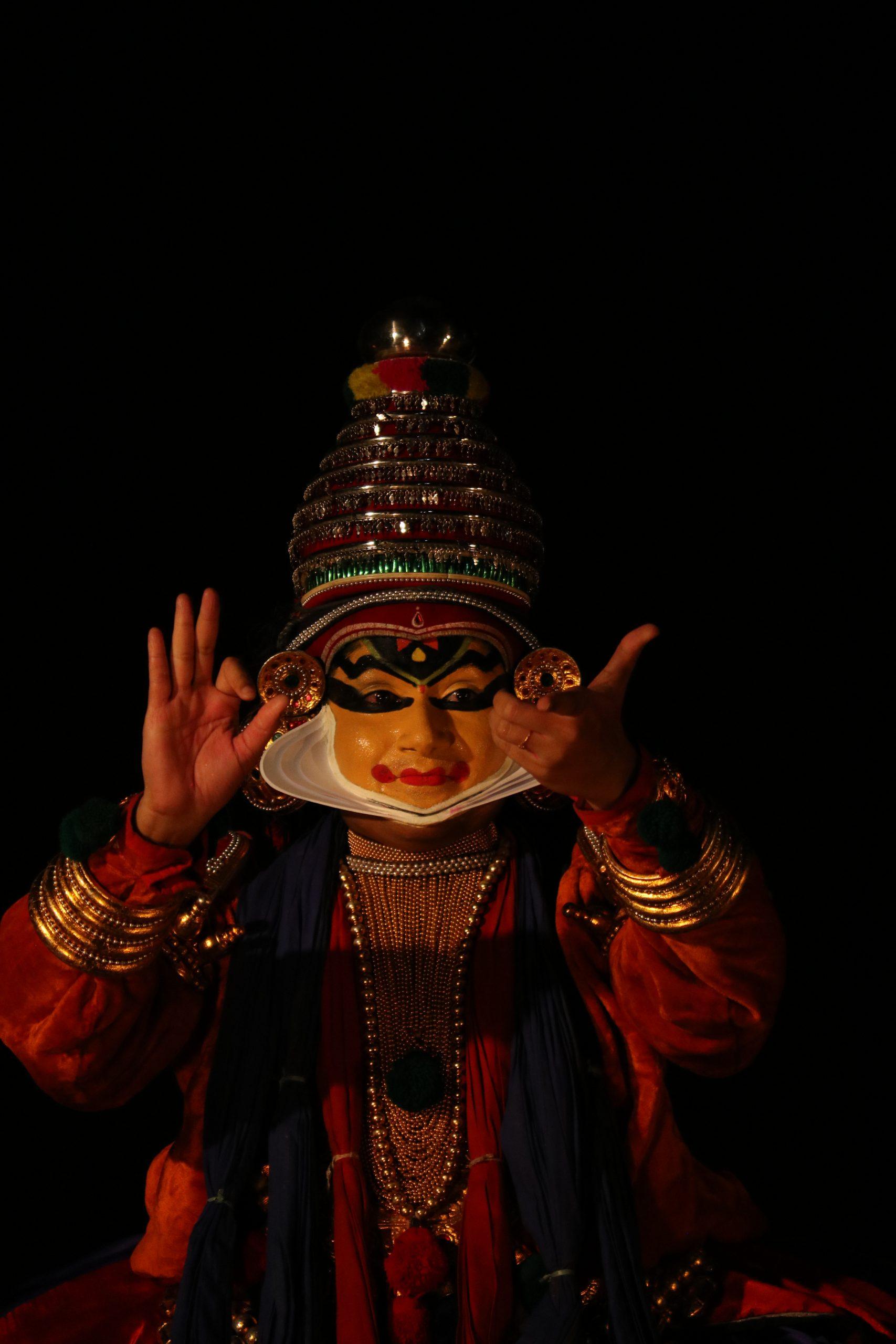 Kathakali artist performing the art