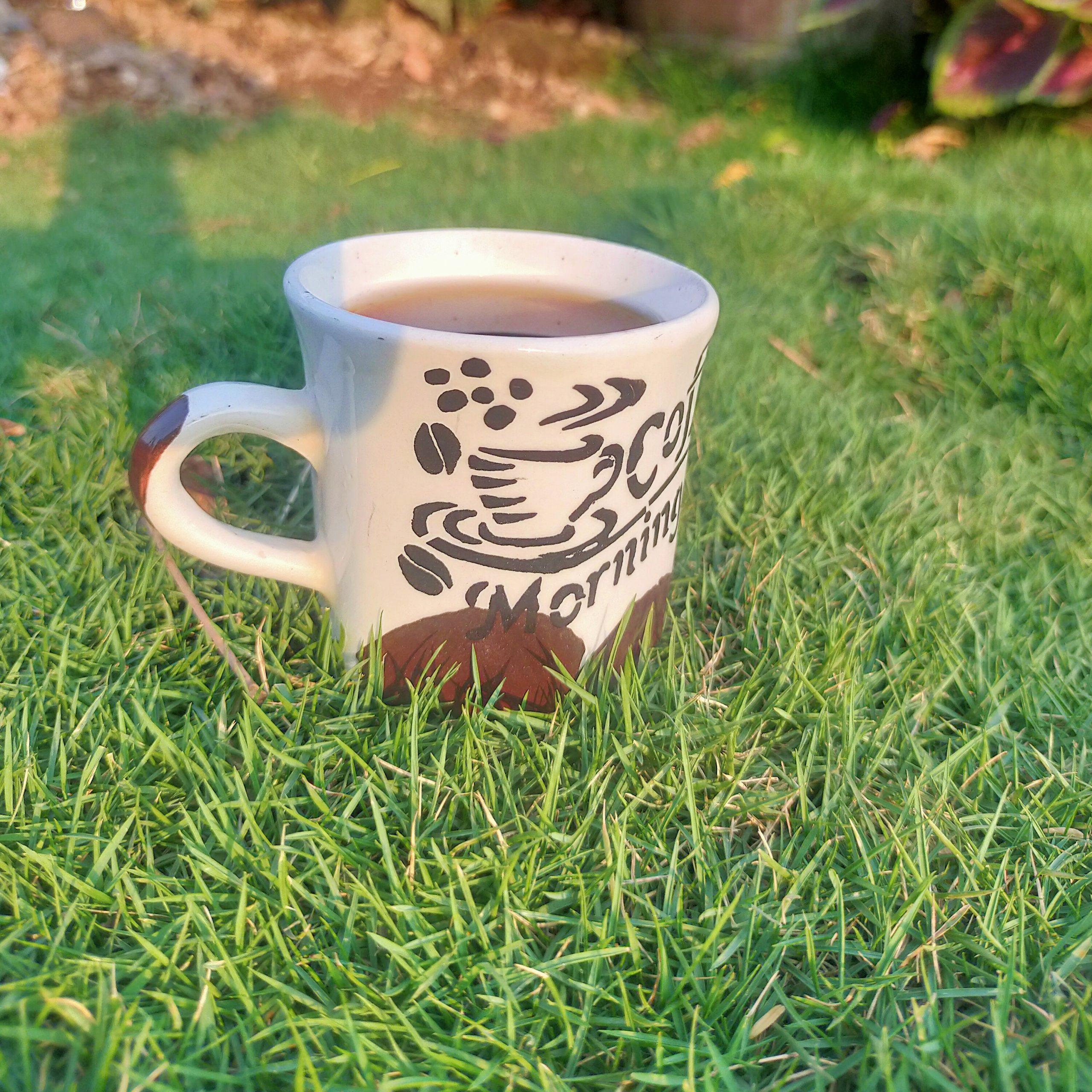 A teacup on grass