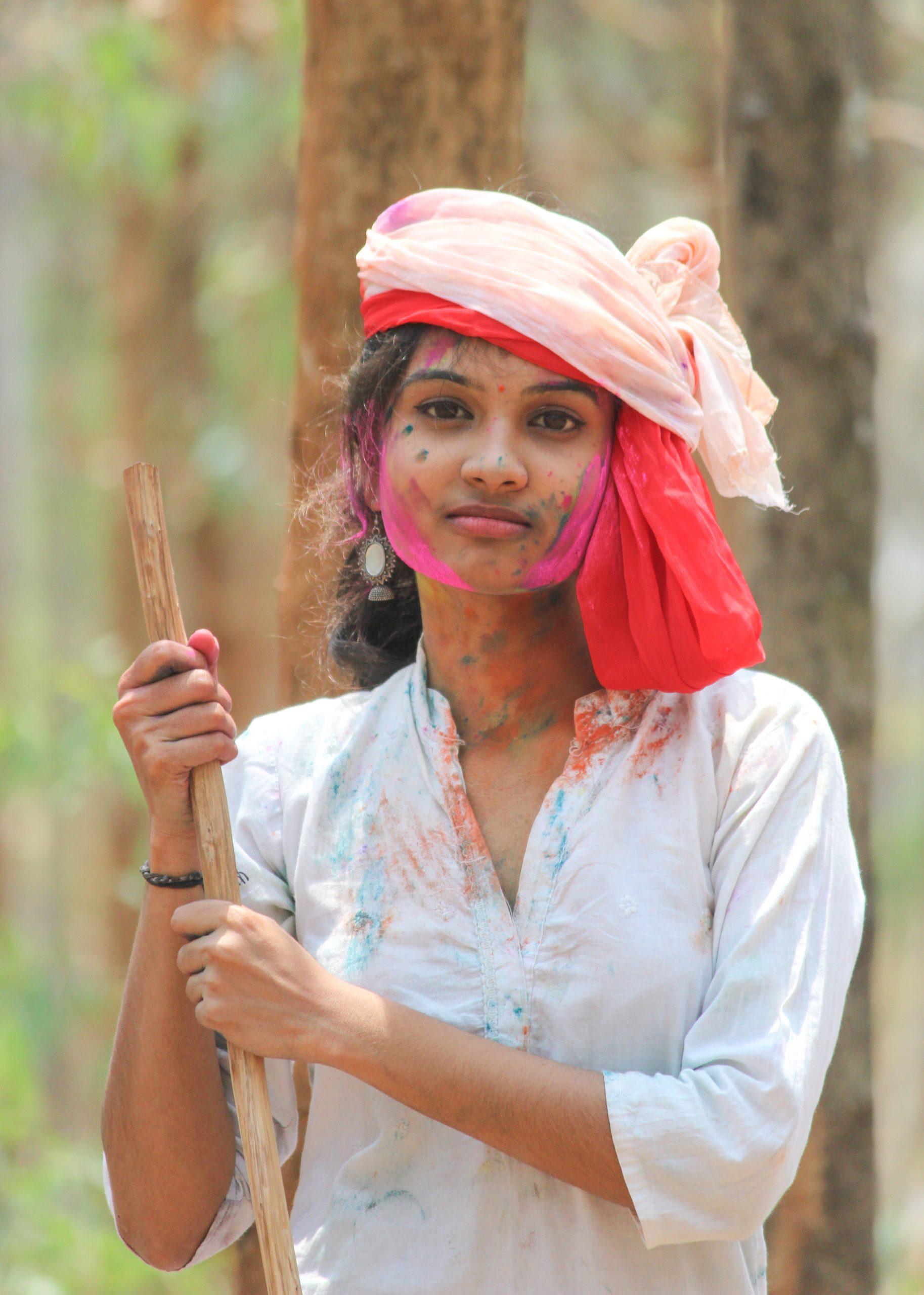 A village girl celebrating Holi festival