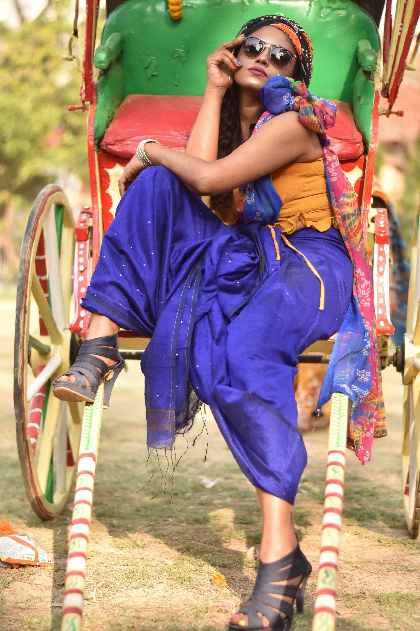 A village girl on a cart
