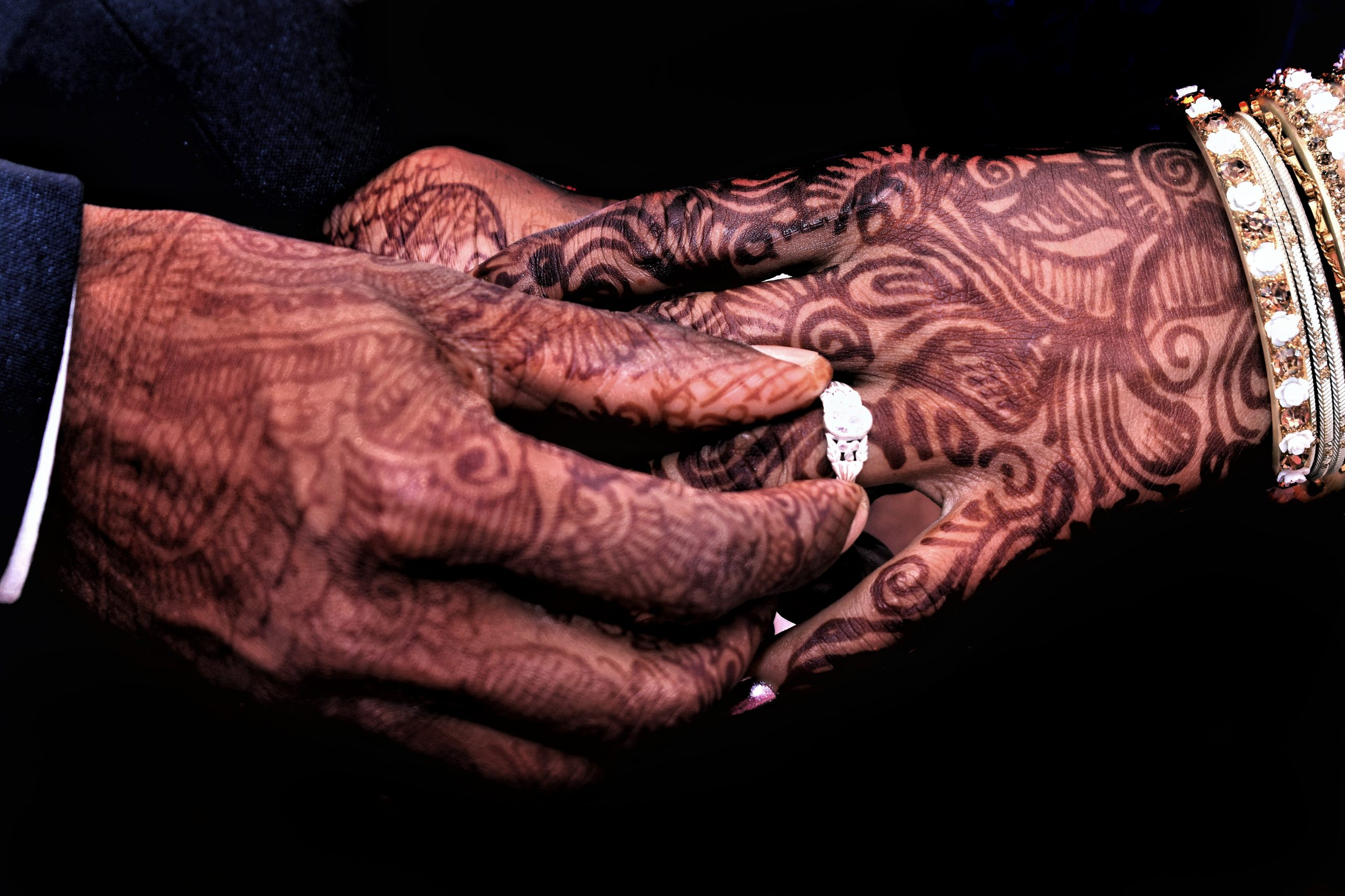 A wedding couple's hands