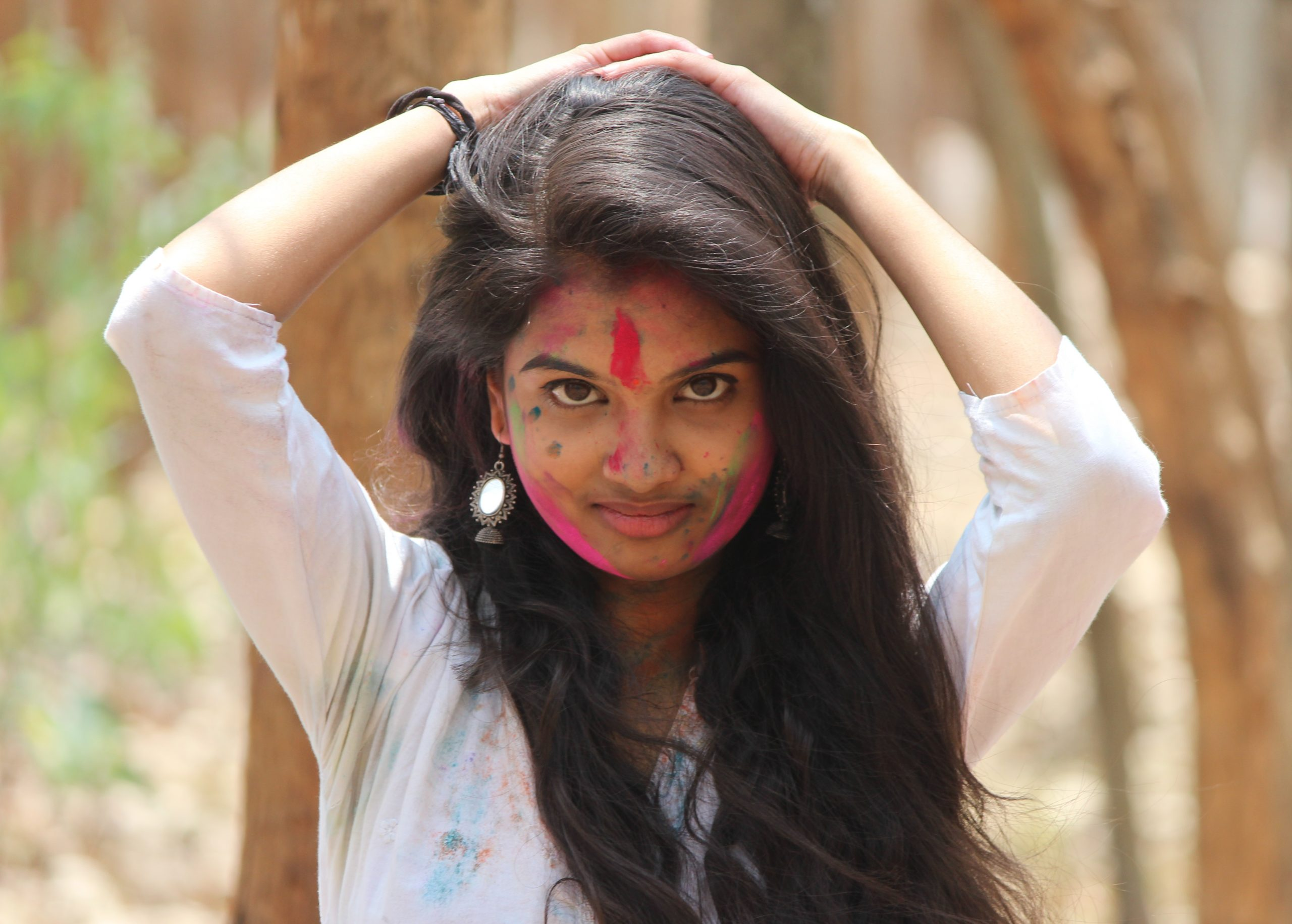 An Indian girl during Holi festival