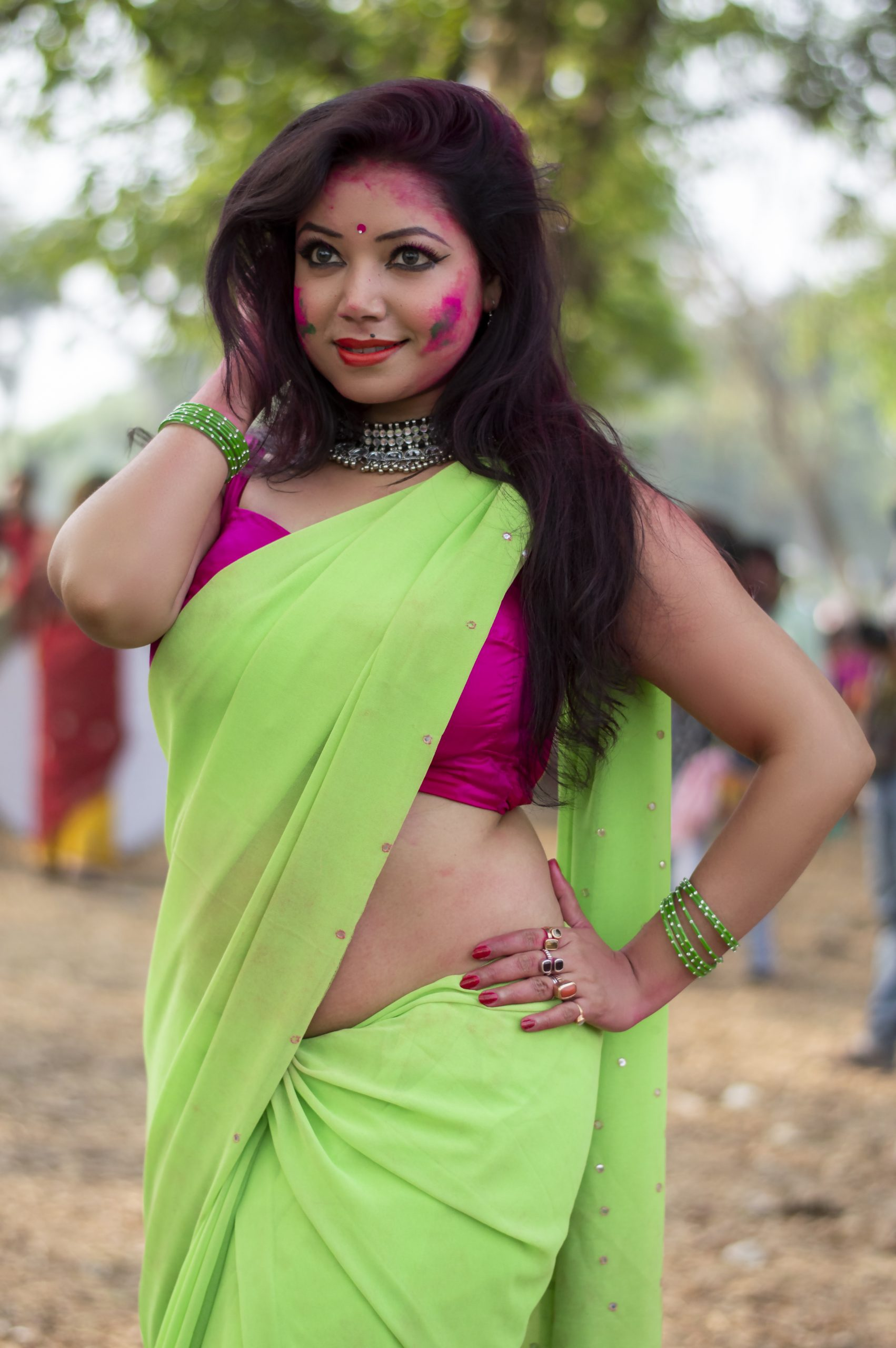 An Indian woman during Holi festival