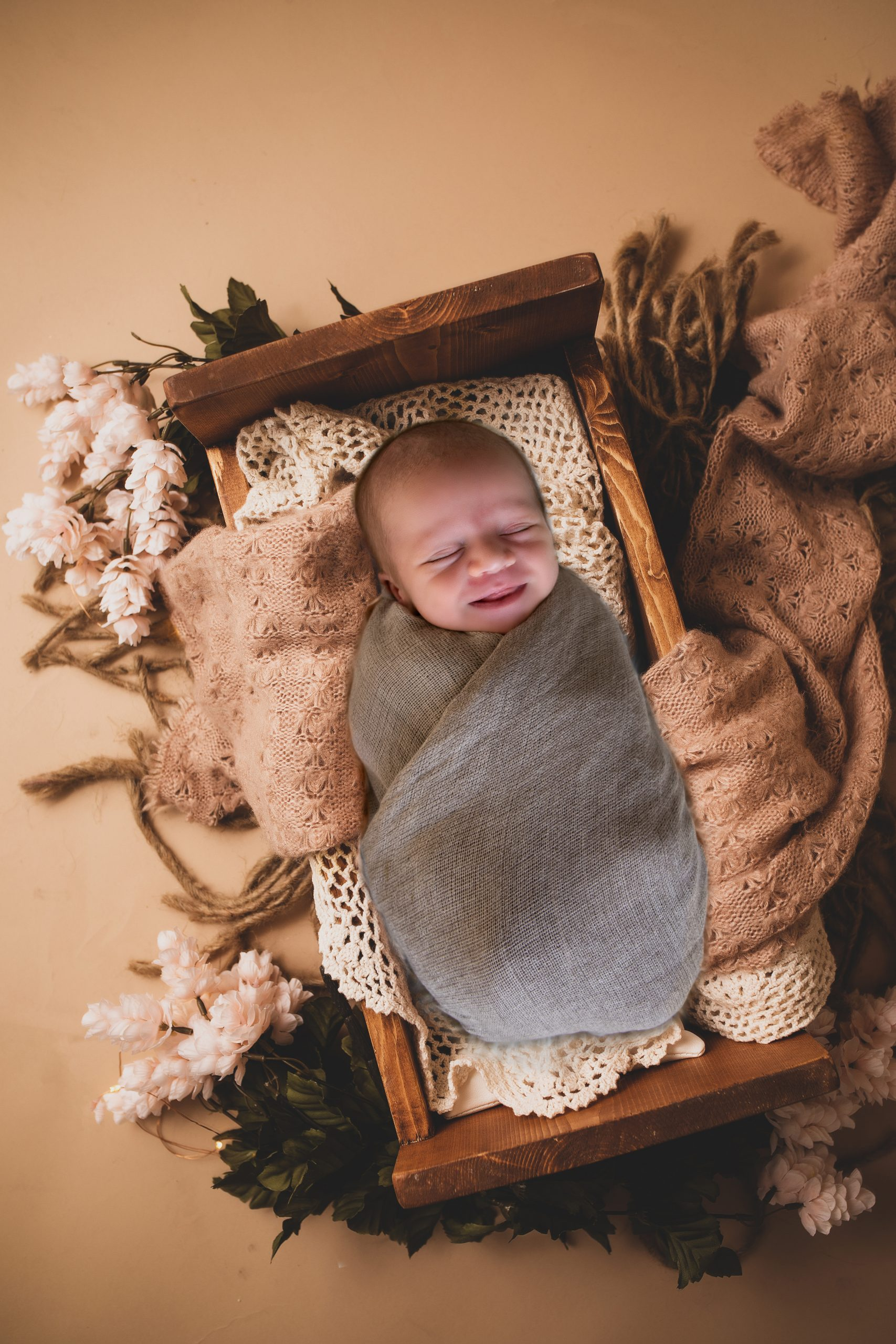 Cute baby in the bassinet