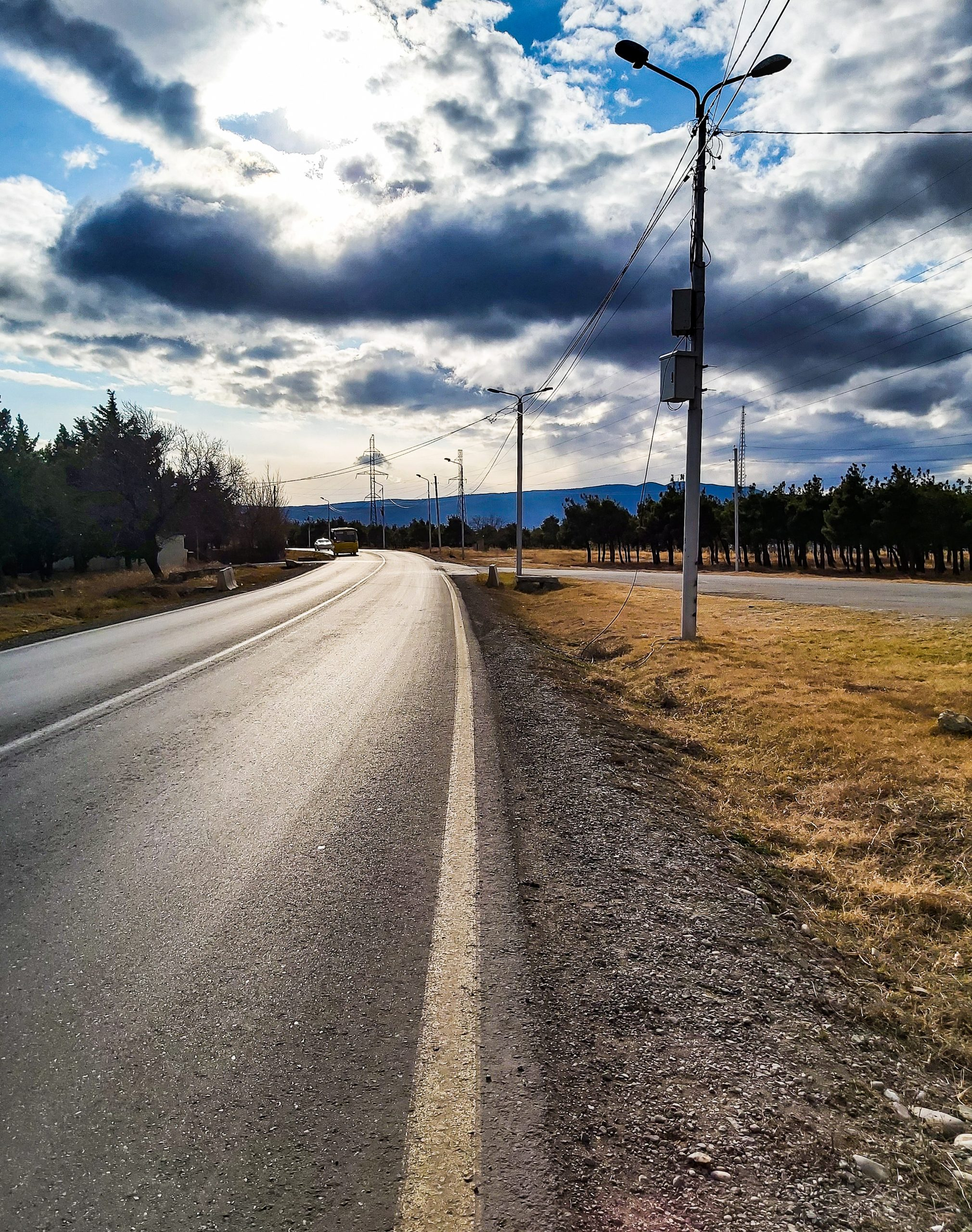 Beautiful road under clouds