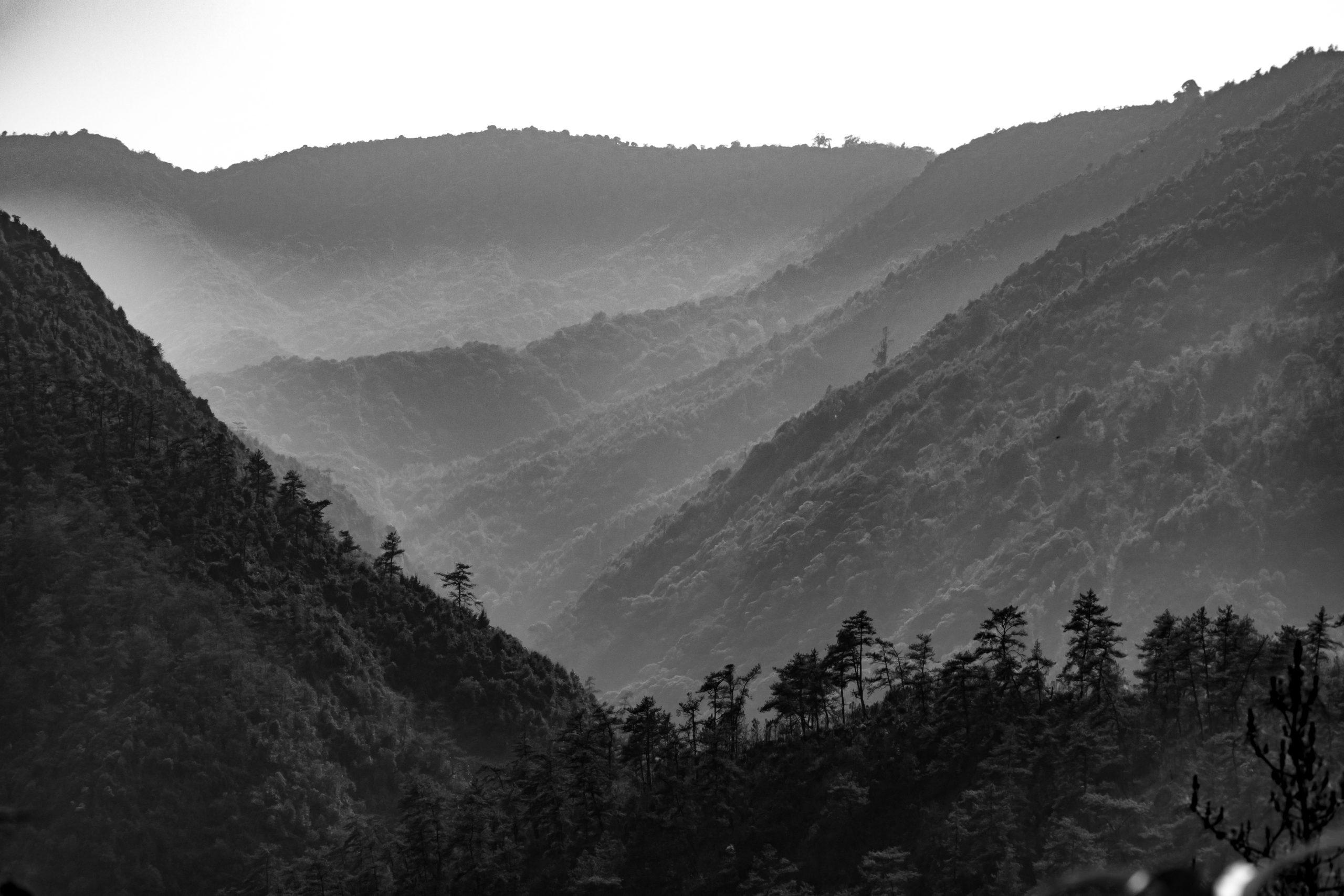 Black white white mountain