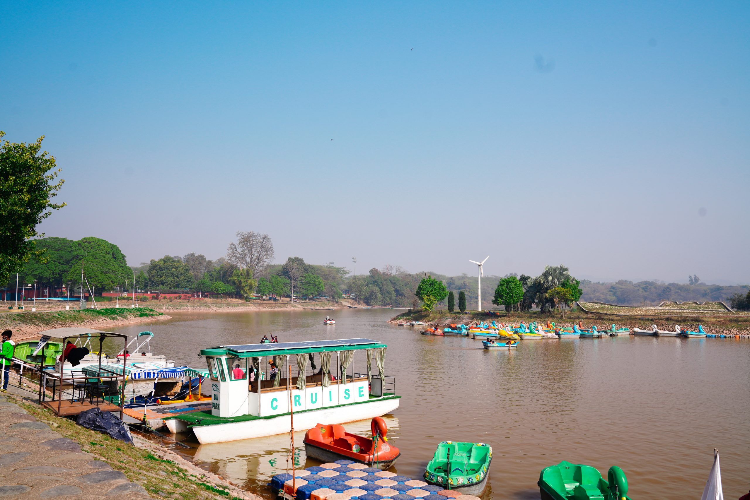 Boats at Sukhna lake in Chandigarh
