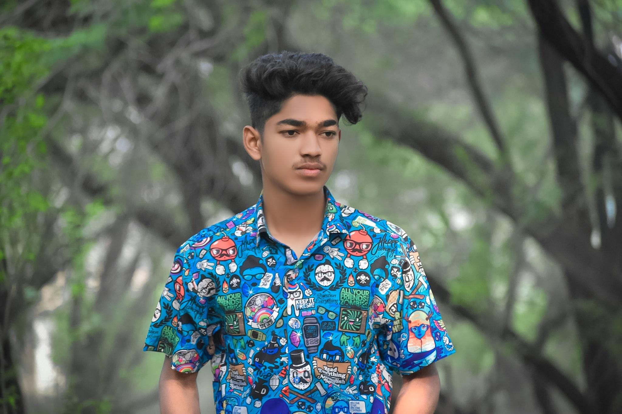 Boy posing in style