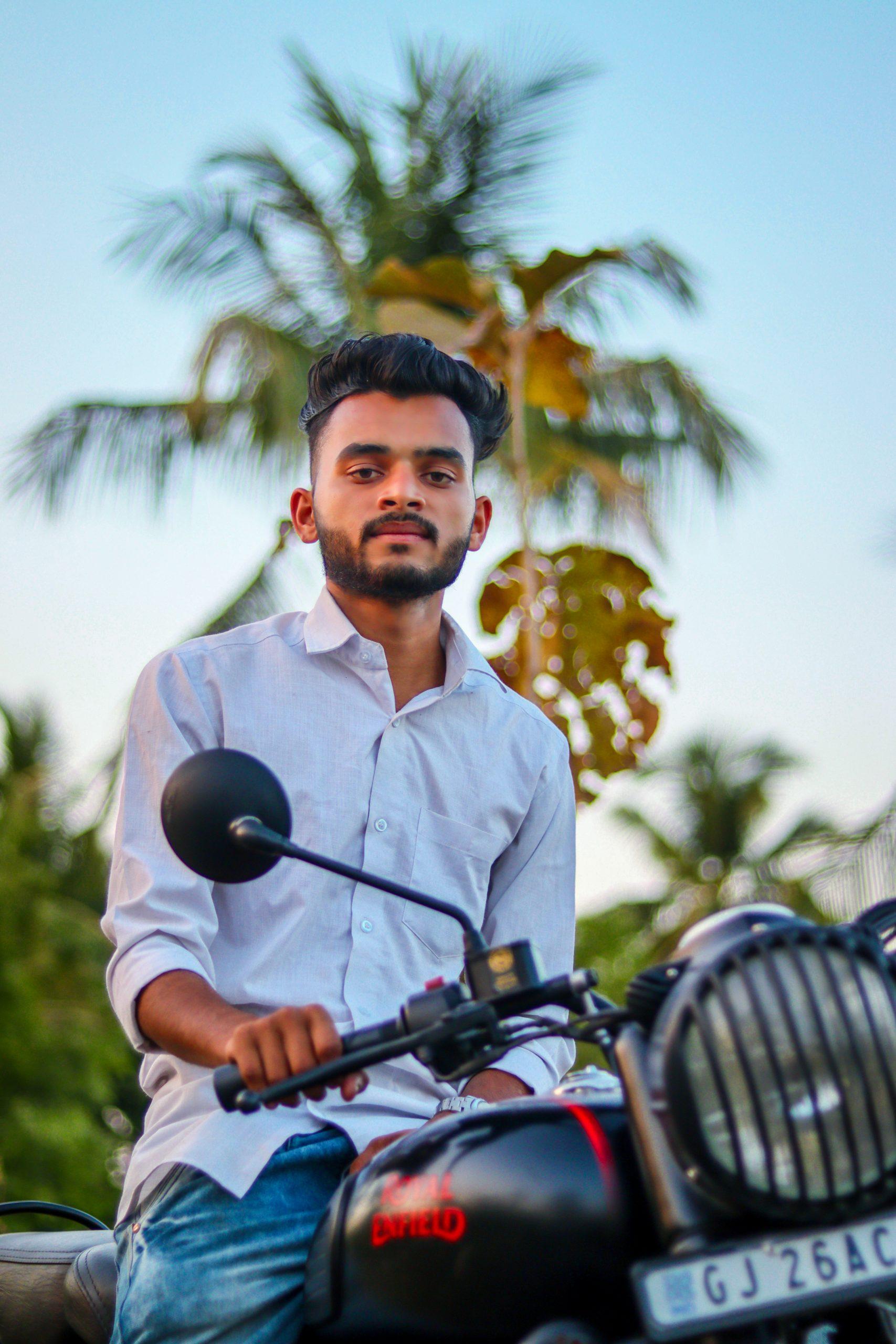 Boy posing on the bike