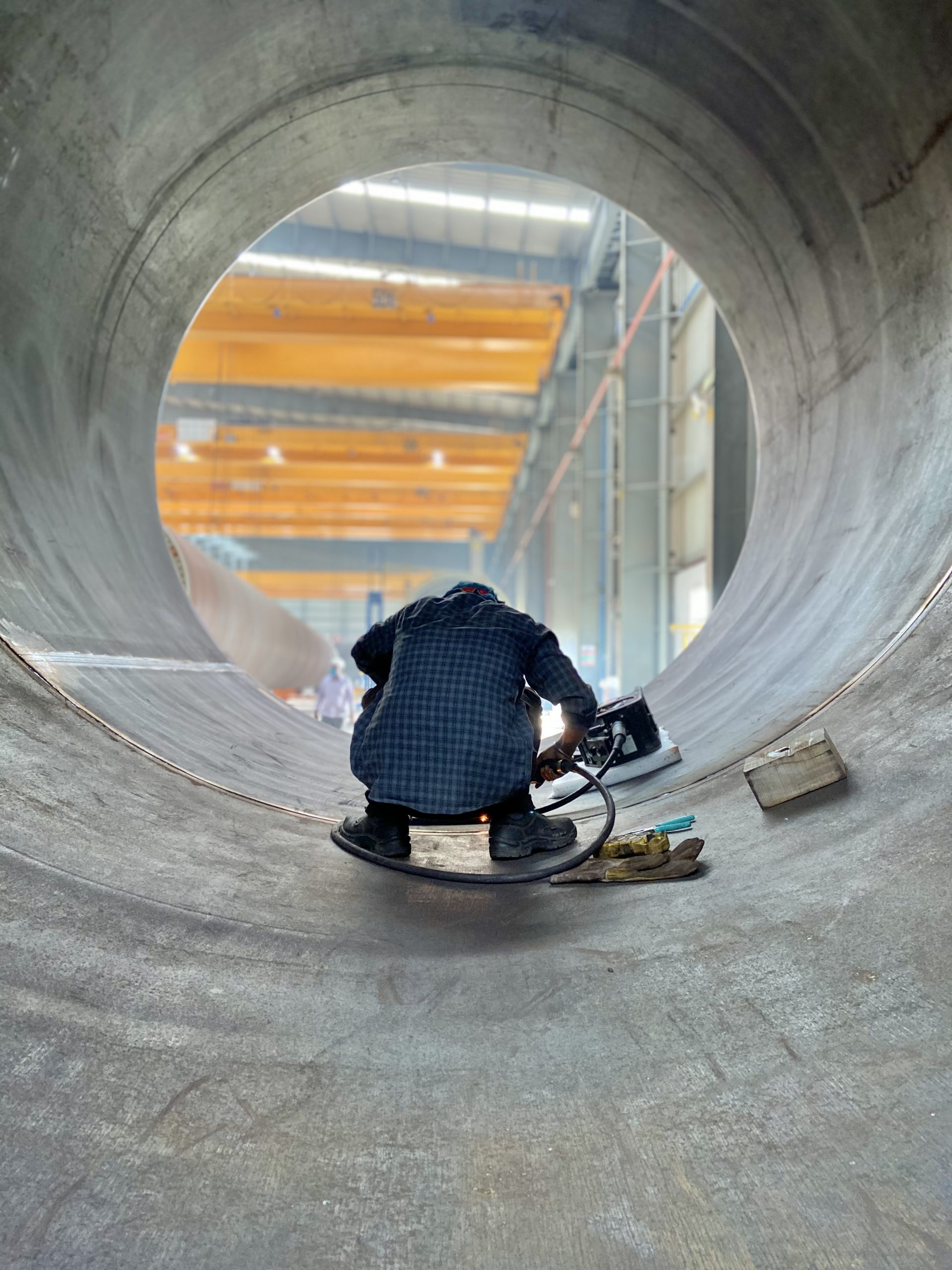 Boy working in the tunnel