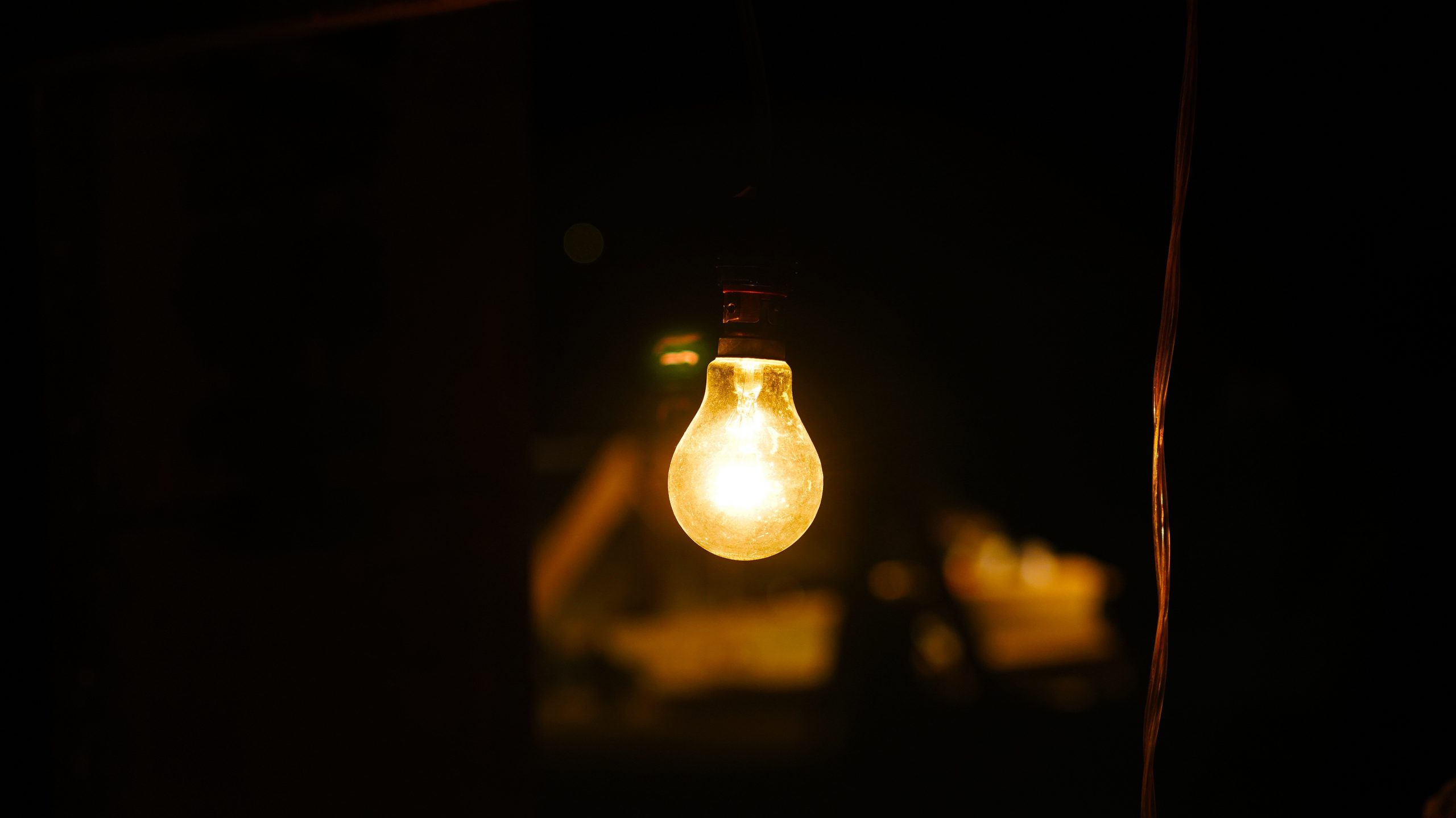 Bulb glowing in the dark