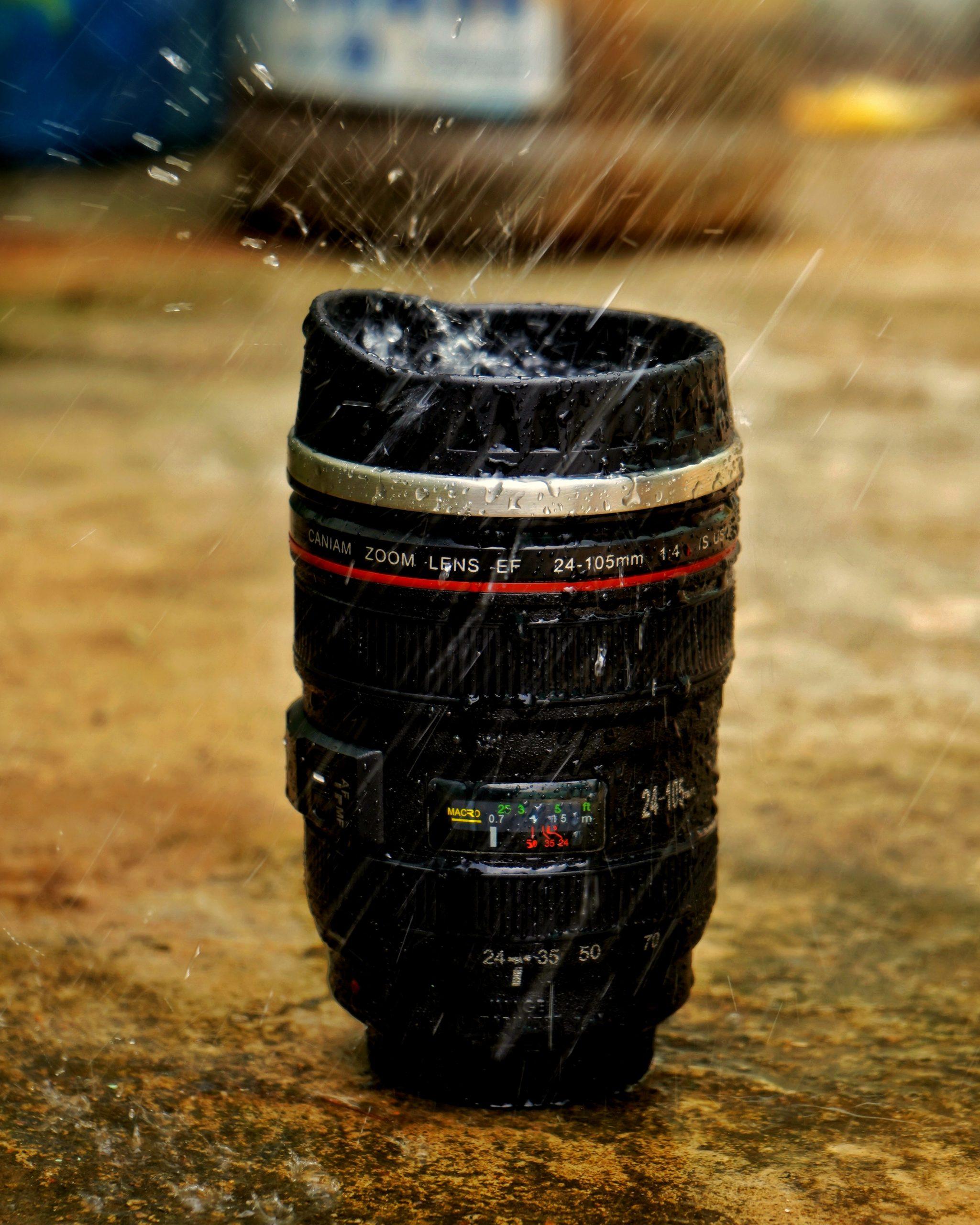 Camera lens in the rain