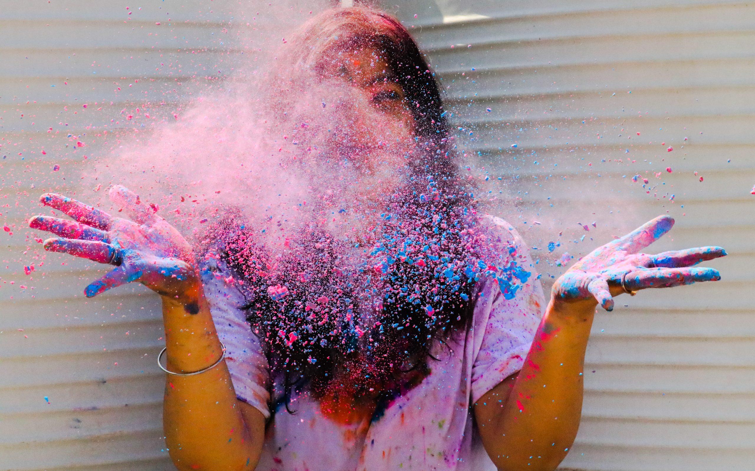 Color splash on a girl's fasce