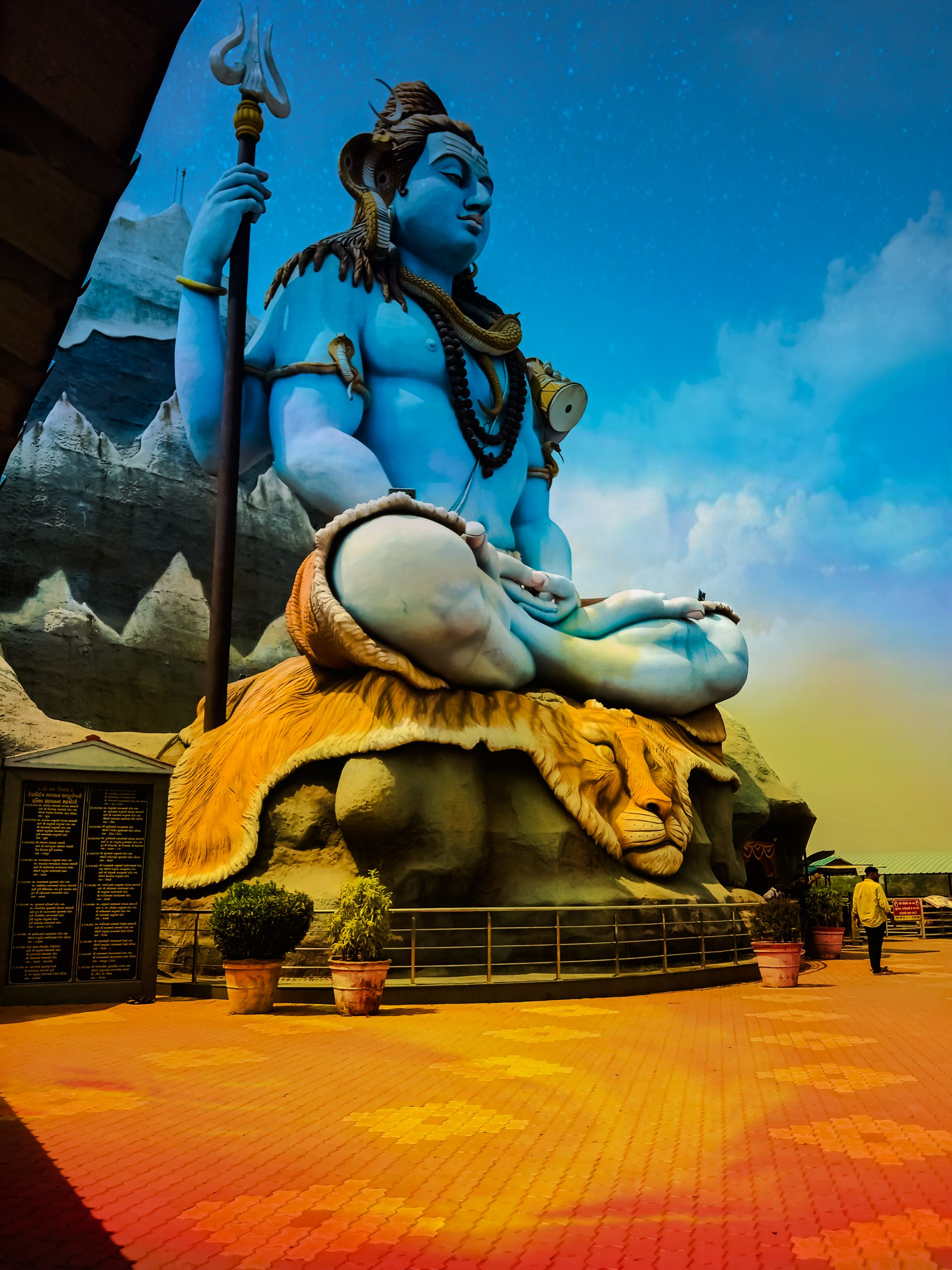 A giant statue of lord Shiva