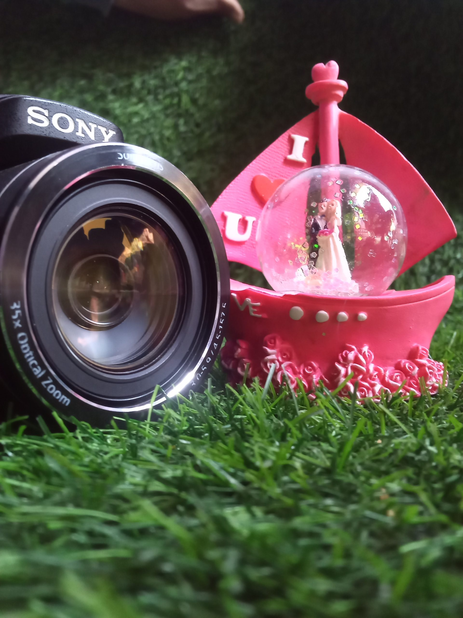 Portrait of a present and DSLR