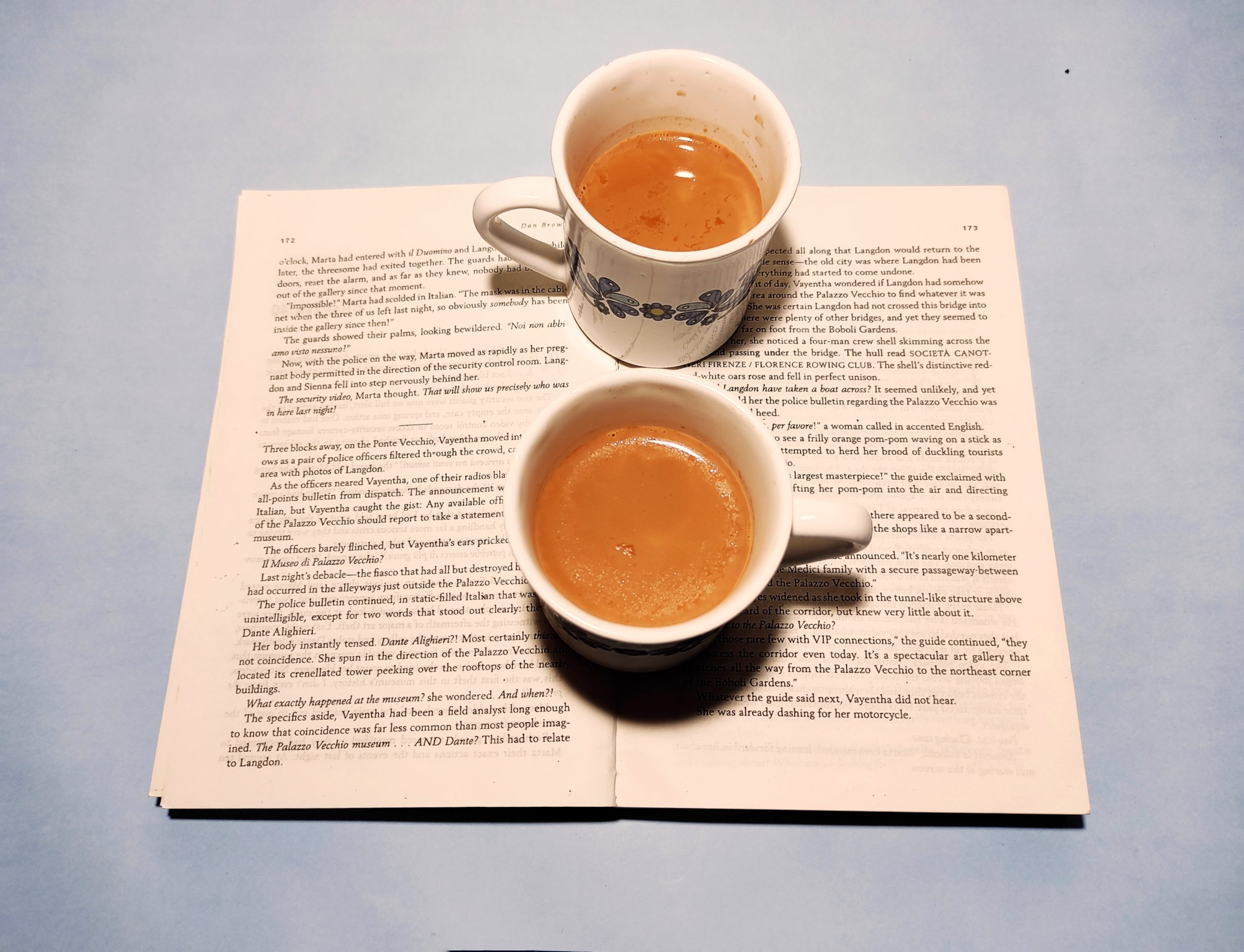 Tea cup over the book