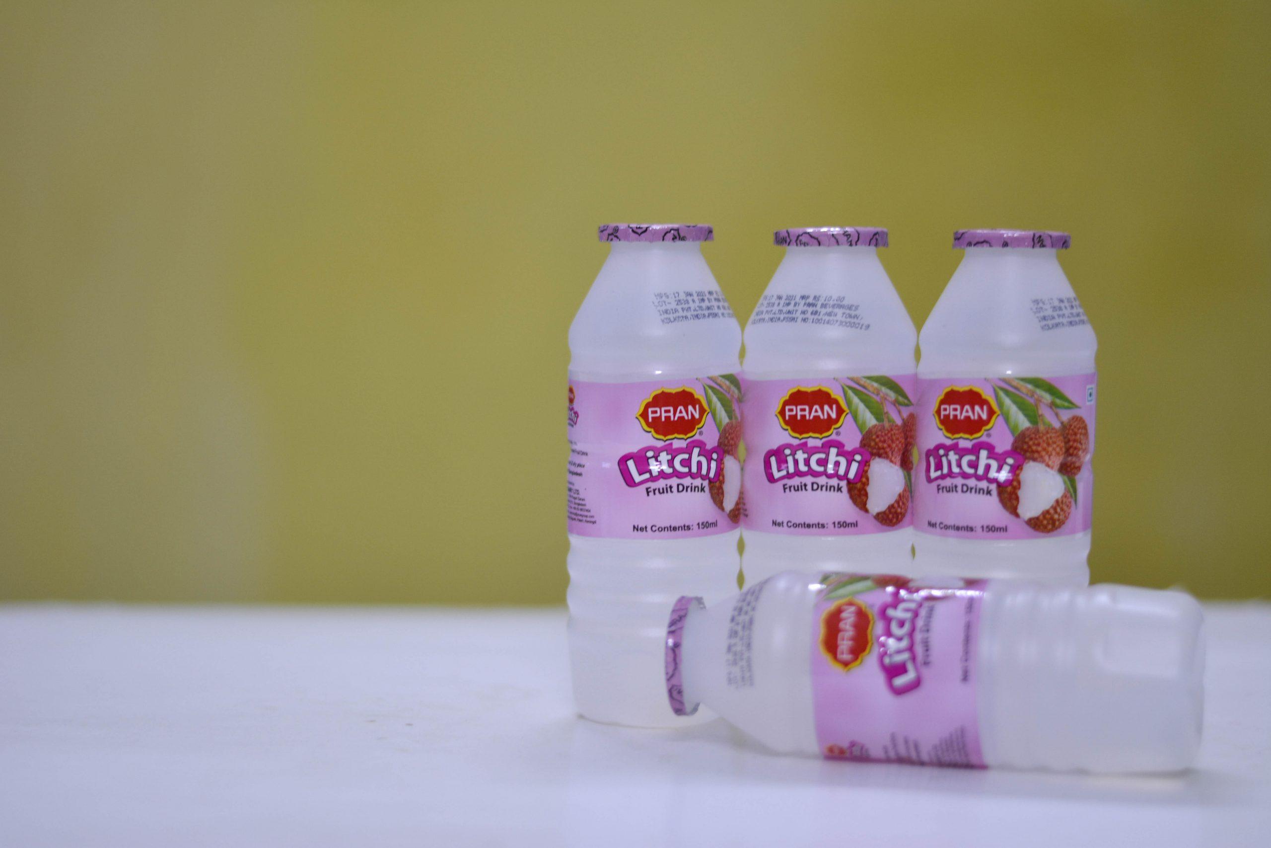 Packaged juice bottles