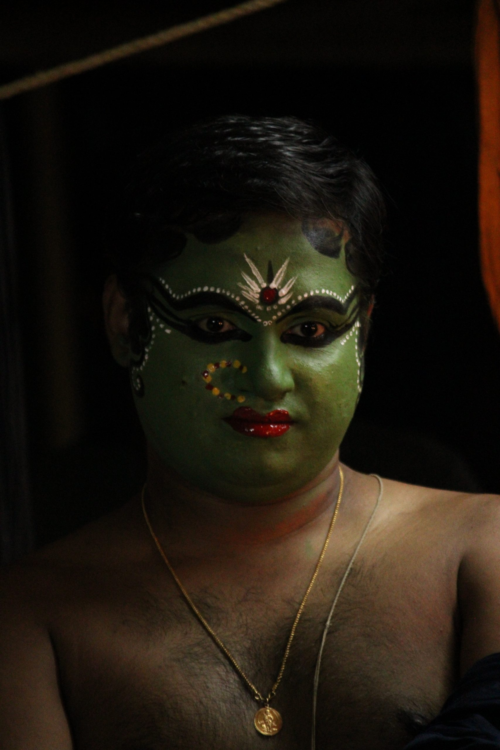 Face painting of a Kathakali artist
