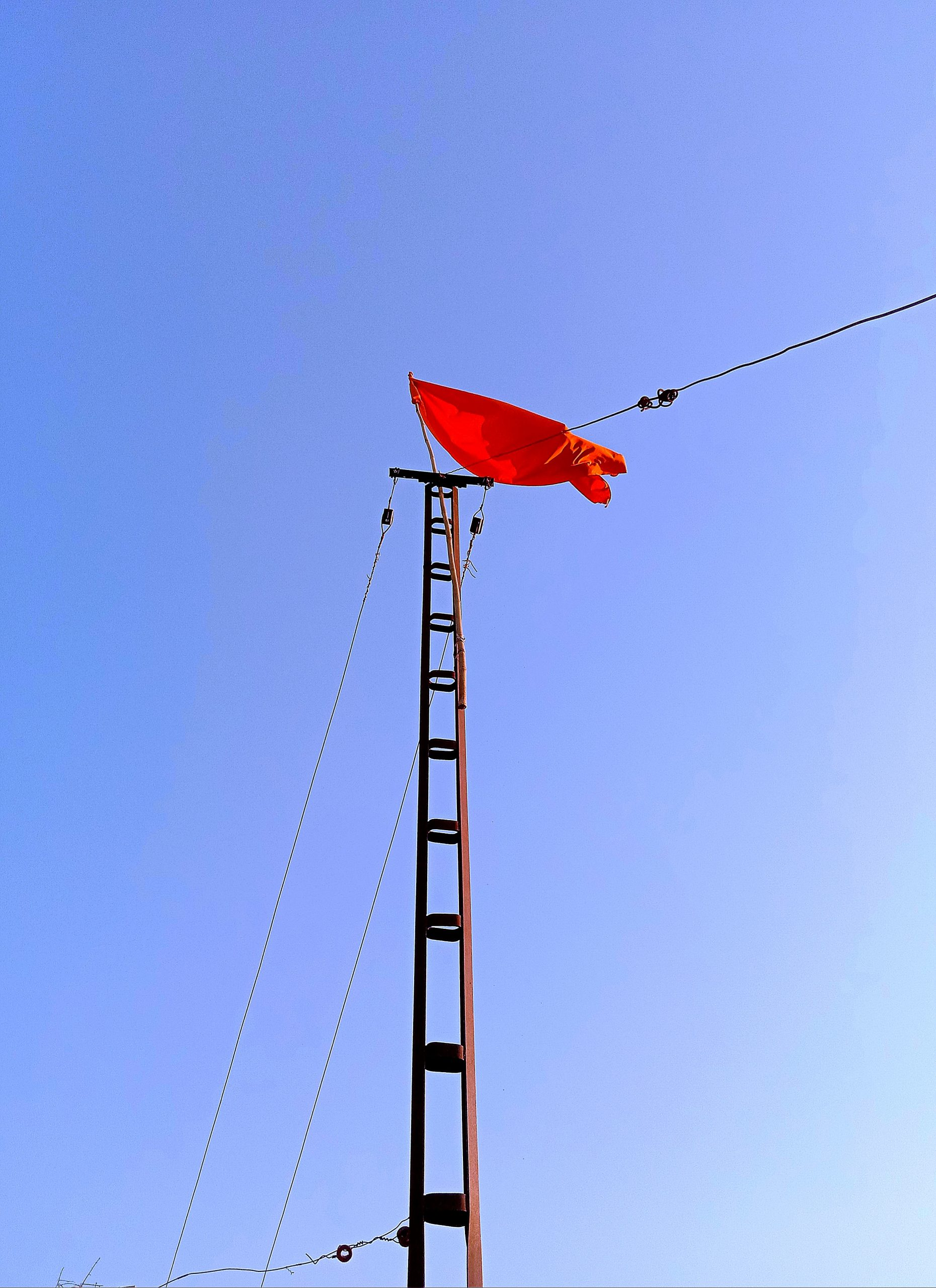 Flag on the electric poll